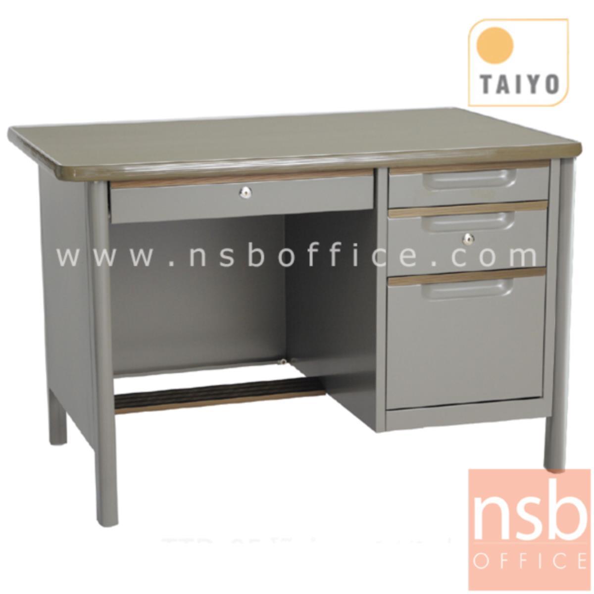 E02A046:โต๊ะทำงาน 4 ลิ้นชักขากล่อง  รุ่น TTD ขนาด 3.5 ,4 ฟุต มือจับอลูมิเนียมพร้อมกุญแจล็อค