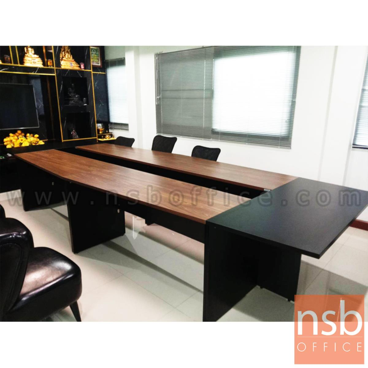โต๊ะประชุม รุ่น BADEN (บาเด็น) 8 ,10 ที่นั่ง ขนาด 420W ,480W cm. เมลามีน สีดำ-มอคค่าวอลนัท