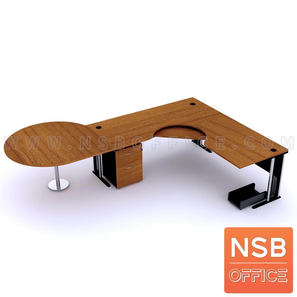 A13A032:โต๊ะผู้บริหารตัวแอลหน้าโค้งเว้า   ขนาด 300W1*180W2 cm. ขาเหล็กโครเมี่ยมดำ สีเชอร์รี่-ดำ *แอลตามภาพเท่านั้น*