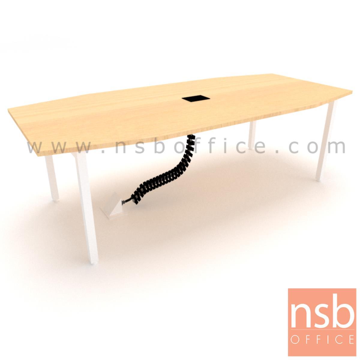 A05A207:โต๊ะประชุม ทรงเรือ  ขนาด 240W*120D cm. พร้อมป็อบอัพหน้าโต๊ะและกระดูกงูร้อยสายไฟ