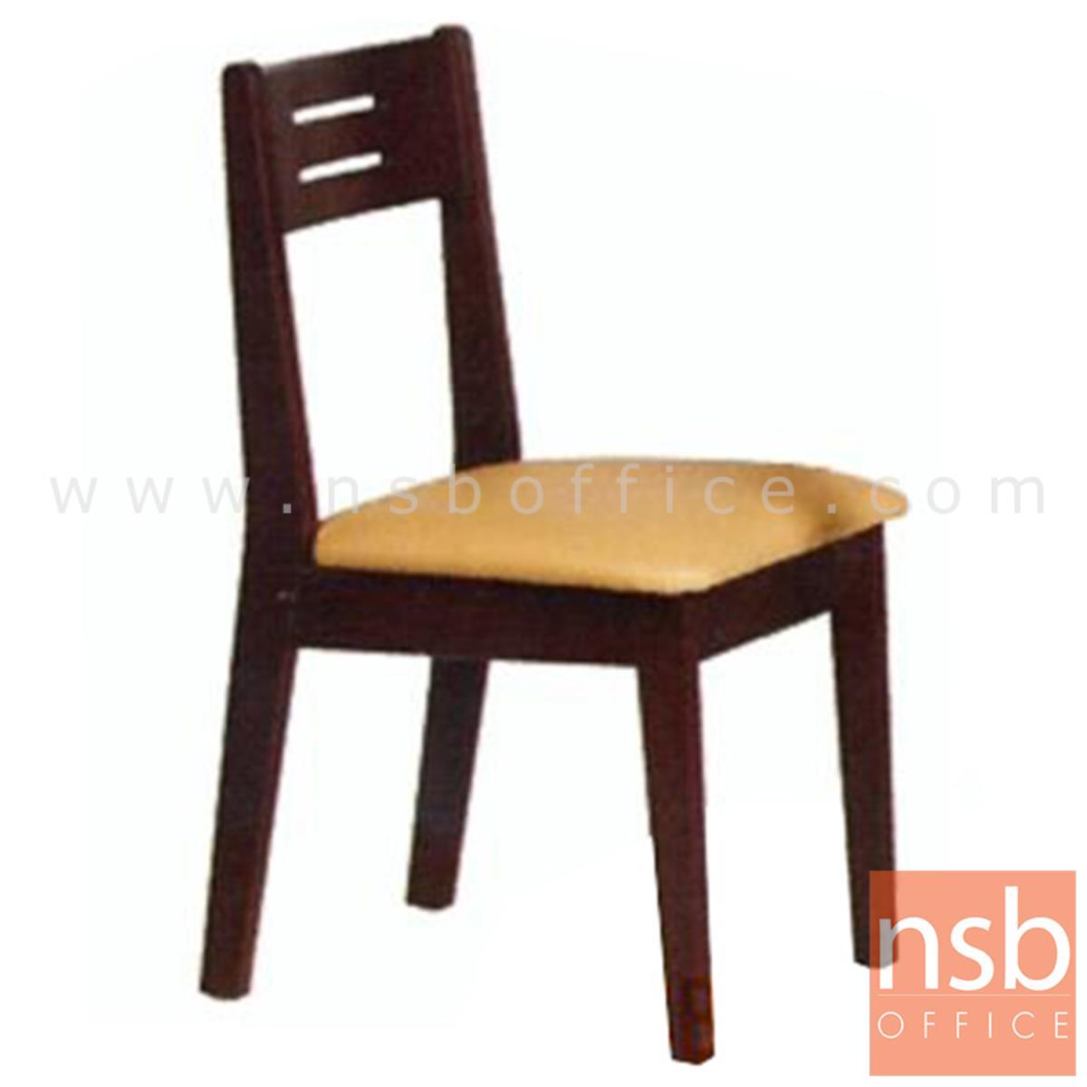 G14A046:เก้าอี้ไม้ยางพาราที่นั่งหุ้มหนังเทียม รุ่น Cather (เคเธอร์) ขาไม้