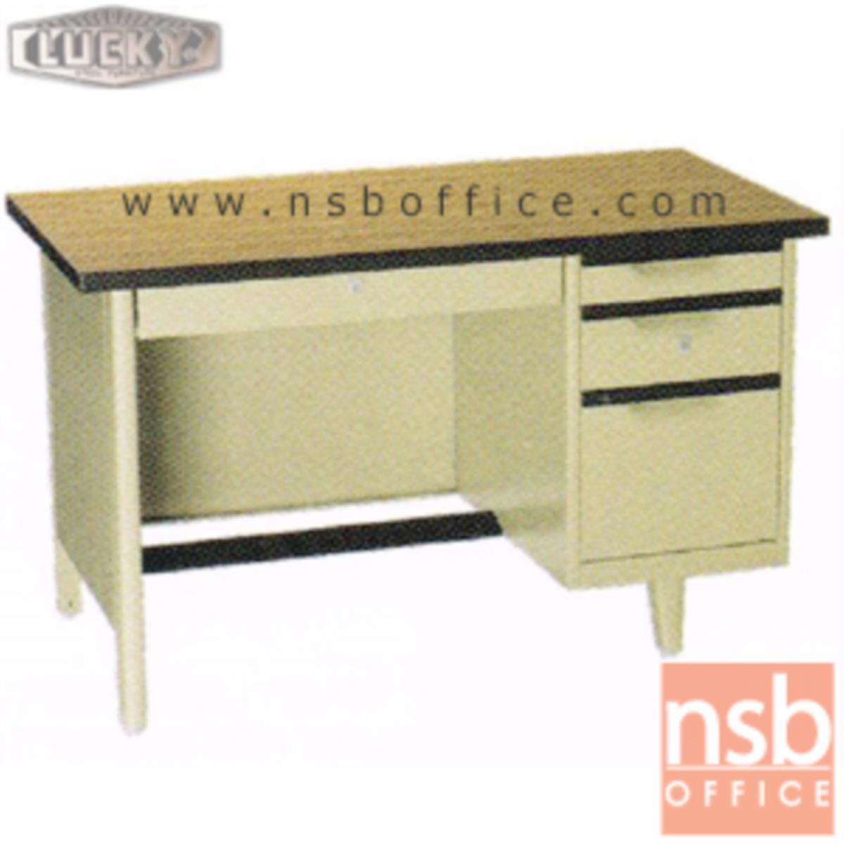 E28A106:โต๊ะทำงานเหล็กหน้าโฟเมก้าลายไม้ 4 ลิ้นชัก  รุ่น NTC-2436,NTC-2642,NTC-2648 ยี่ห้อ Lucky