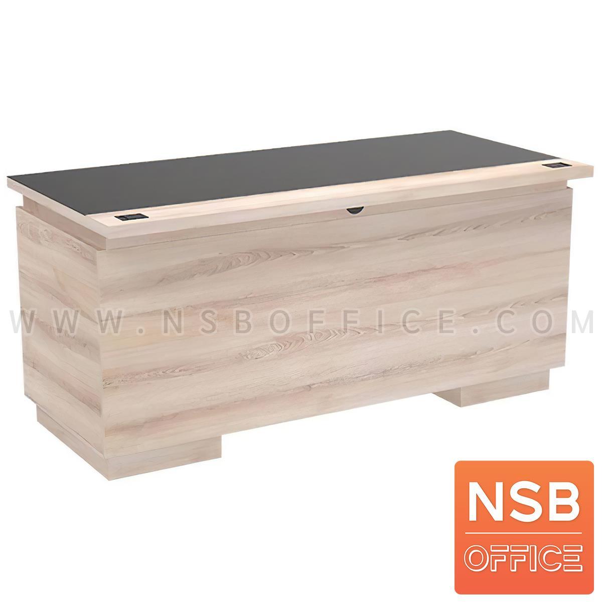 โต๊ะทำงานไม้ 3 ลิ้นชัก 2 บานเปิด รุ่น Taffe (ทาฟเฟ) ขนาด 160W*75D cm. แผ่นท็อปกระจกชาดำ