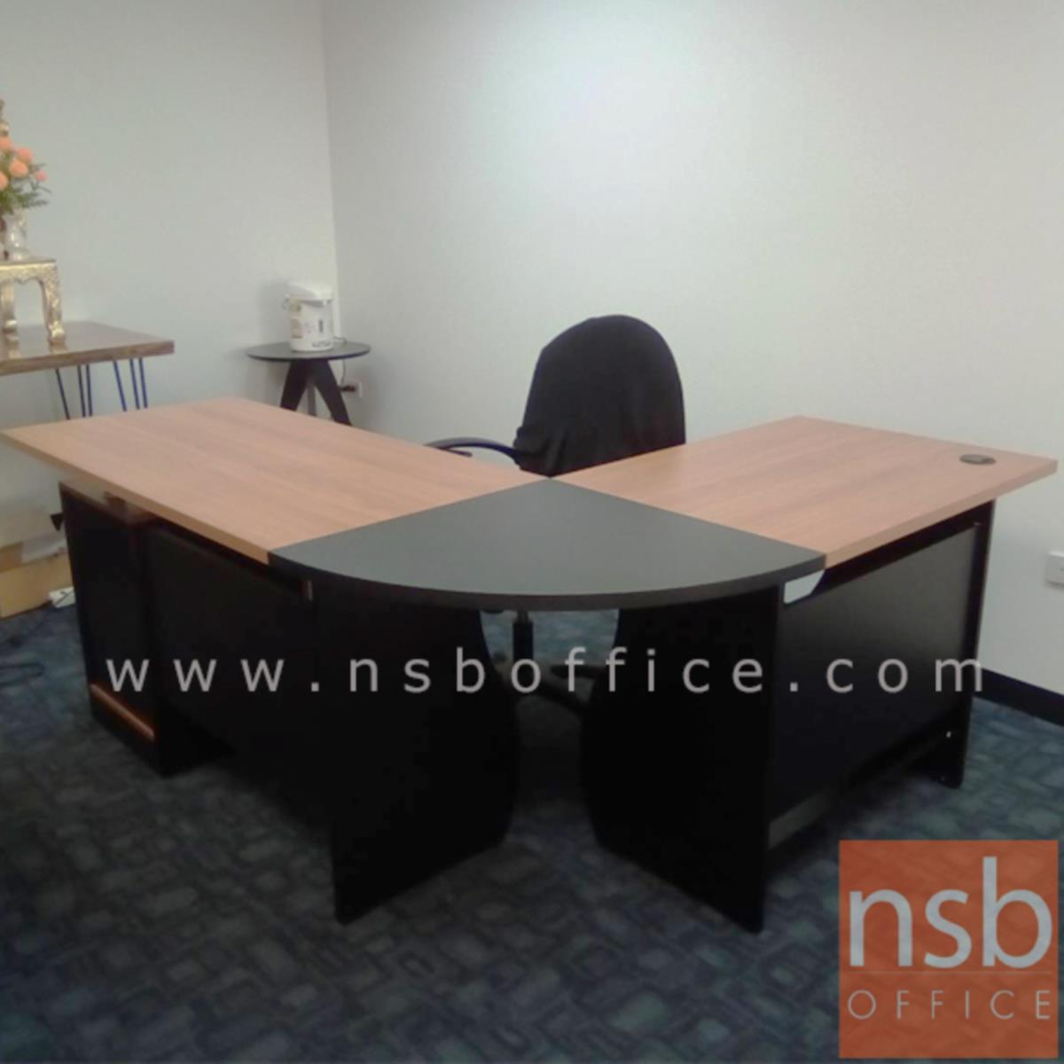 โต๊ะผู้บริหารตัวแอลหัวโค้ง 1 ลิ้นชัก 1 บานเปิด รุ่น Metallique (เมทอลลิก) ขนาด 180W1*140W2 cm.  เมลามีน สีเชอร์รี่ดำ