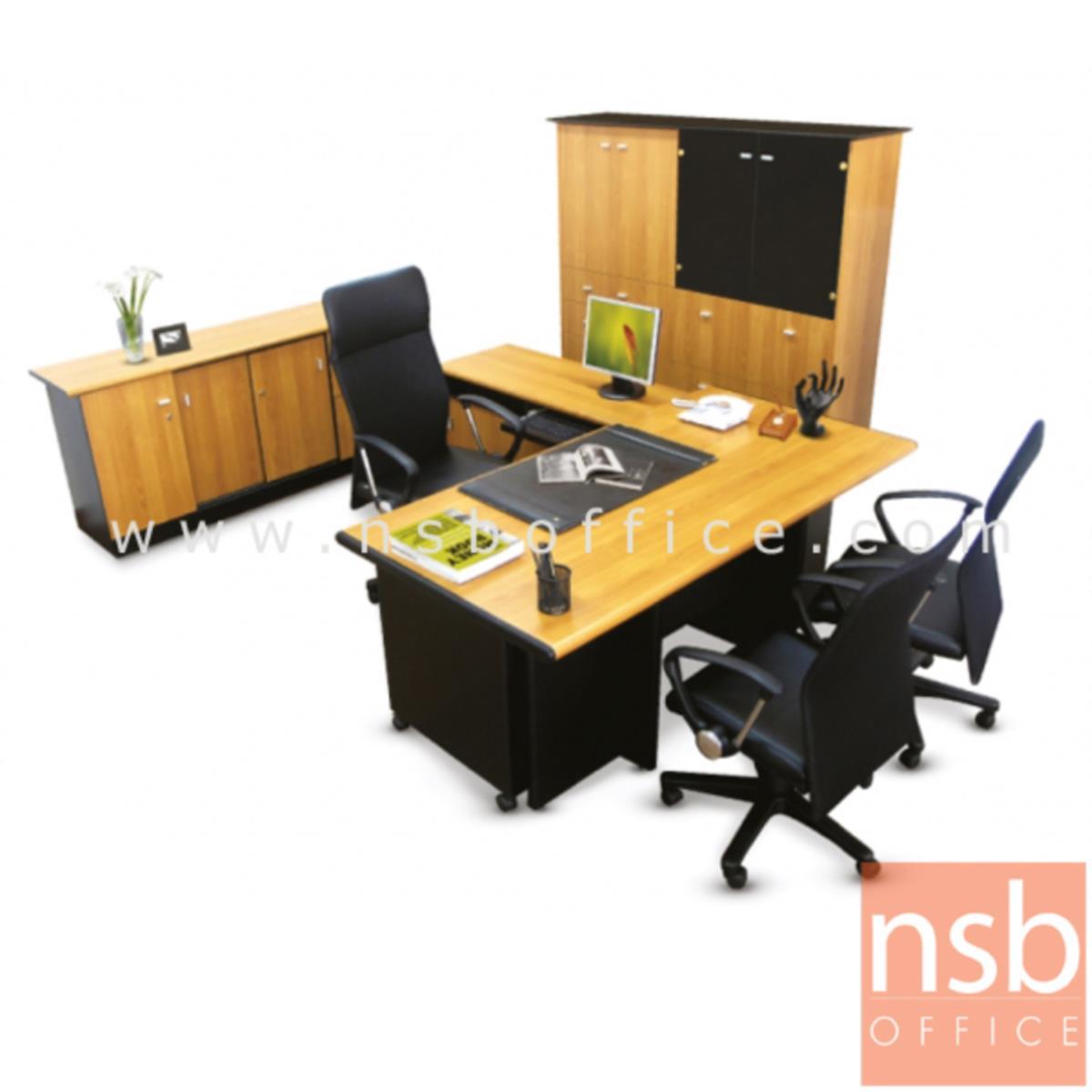 A13A007:โต๊ะผู้บริหารตัวแอล  รุ่น CXE ขนาด 180W1*210W2 cm.  สีเชอร์รี่-ดำ