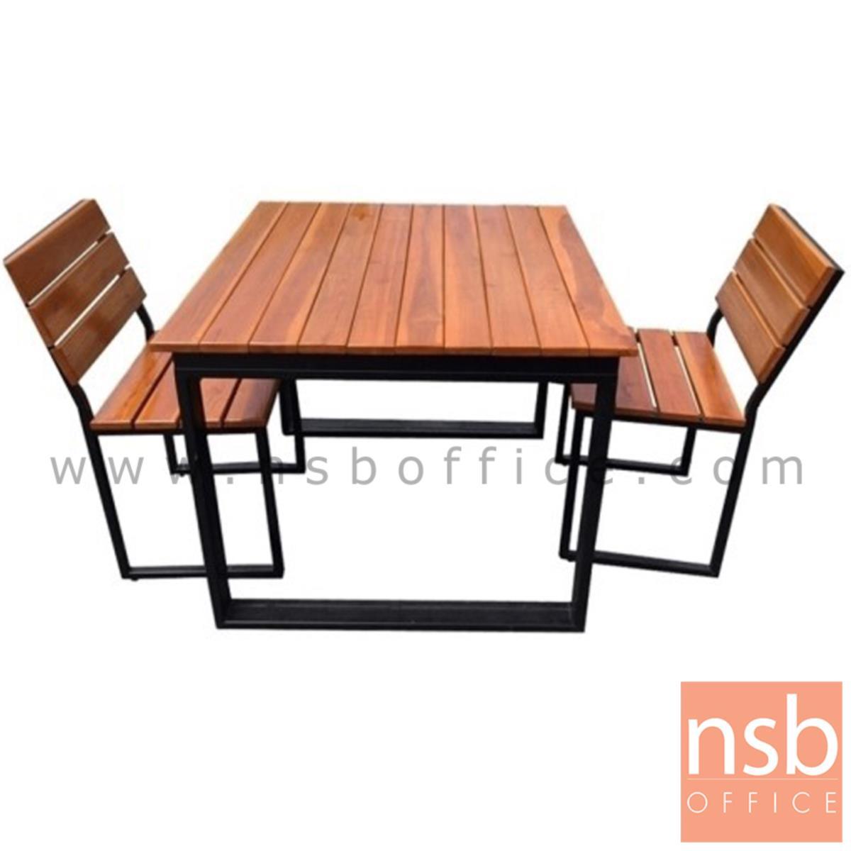 A17A089:ชุดโต๊ะและเก้าอี้กิจกรรมไม้ระแนงทำสีสัก รุ่น WASHINGTON (วอชิงตัน) ขนาด 90W ,150W cm. ขาโมเดิร์น