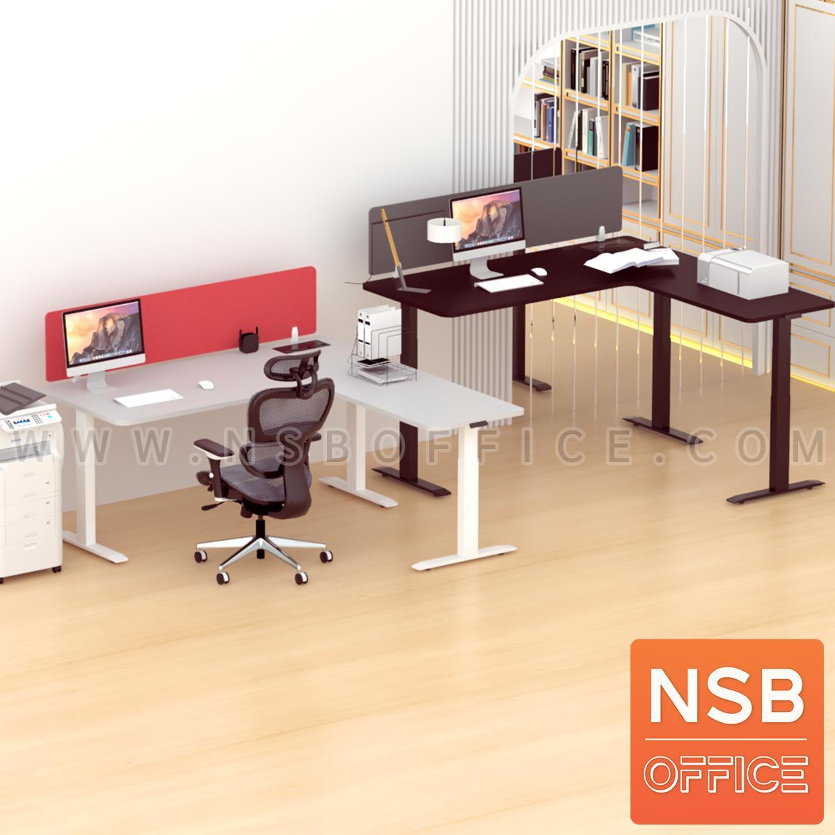 โต๊ะทำงาน Sit 2 Stand ทรงตัวแอล รุ่น Carmine (คาร์ไมน์) ขนาด 160W, 180W cm. มินิสกรีนผ้า พร้อมป็อปอัพรุ่น A24A057
