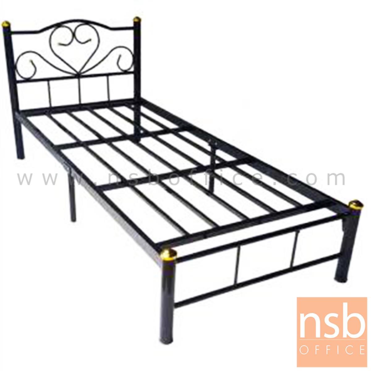 G11A003:เตียงเหล็กชั้นเดียว 3 ฟุต รุ่นมาตรฐาน หนา 0.7 mm. ขนาด 91.4W* 200D* 33H cm. สีดำ (ลายบัว)