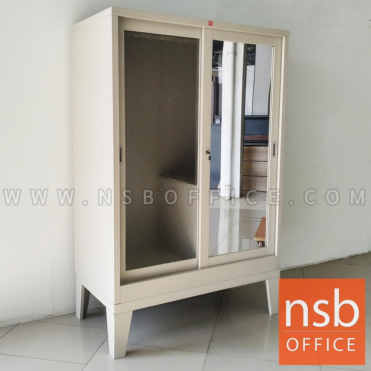 E31A100:ตู้เสื้อผ้าบานเลื่อนกระจกทับทิมและกระจกเงา (สต็อกหน้าร้าน 1 ตัว) รุ่น KSM-152K & ST-152K ขนาด 118W*62D cm.  มีฐานรอง กุญแจล็อก