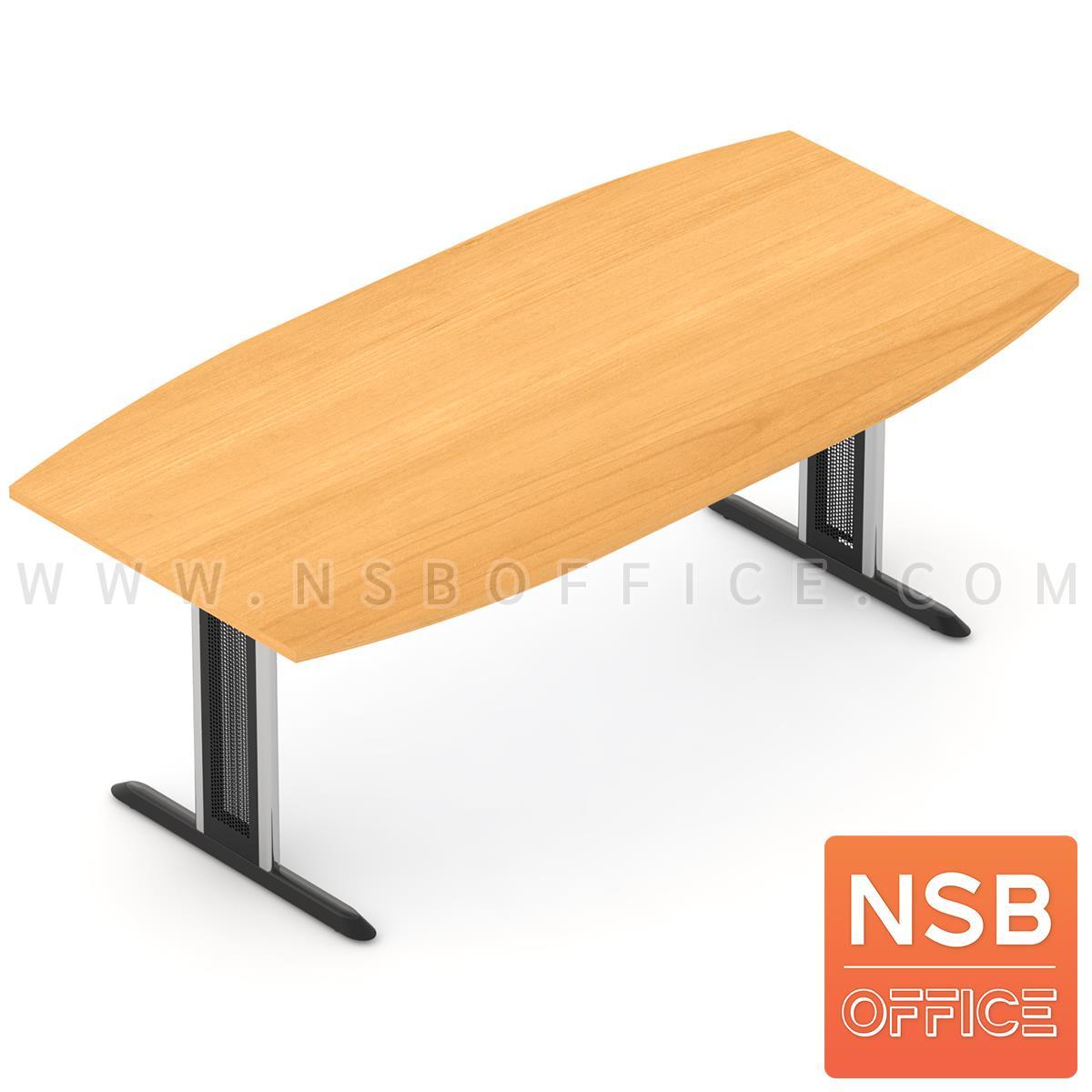 A05A048:โต๊ะประชุมทรงเรือ  8 ,10 ที่นั่ง ขนาด 200W ,240W cm. ขาเหล็กตัวที