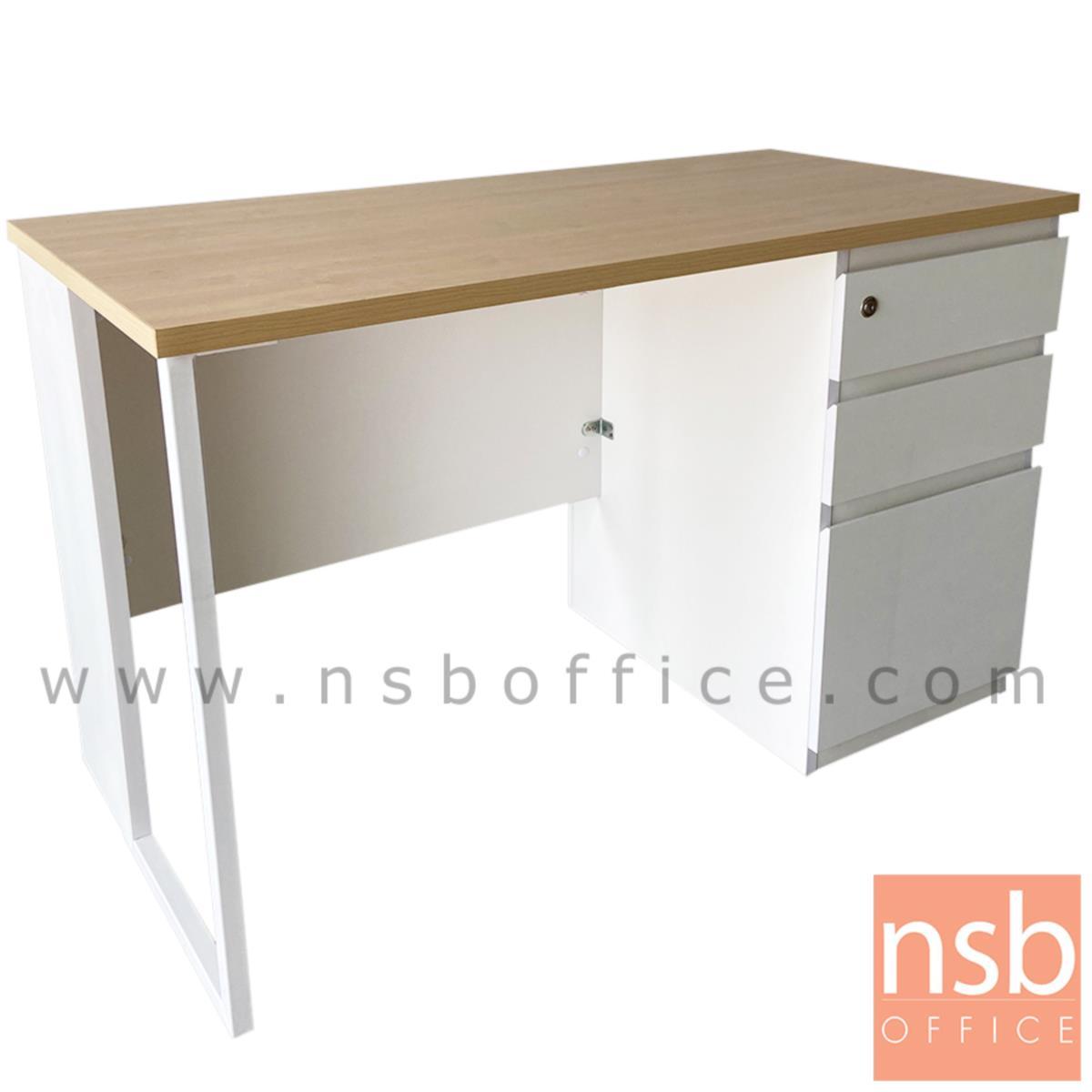 A10A076:โต๊ะทำงานทรงสี่เหลี่ยม 3 ลิ้นชัก  รุ่น Elwood (เอลวูด) ขนาด 120W ,135W ,150W ,160W ,180W*60D ,75D cm.  ขาเหล็กกล่องพ่นขาว