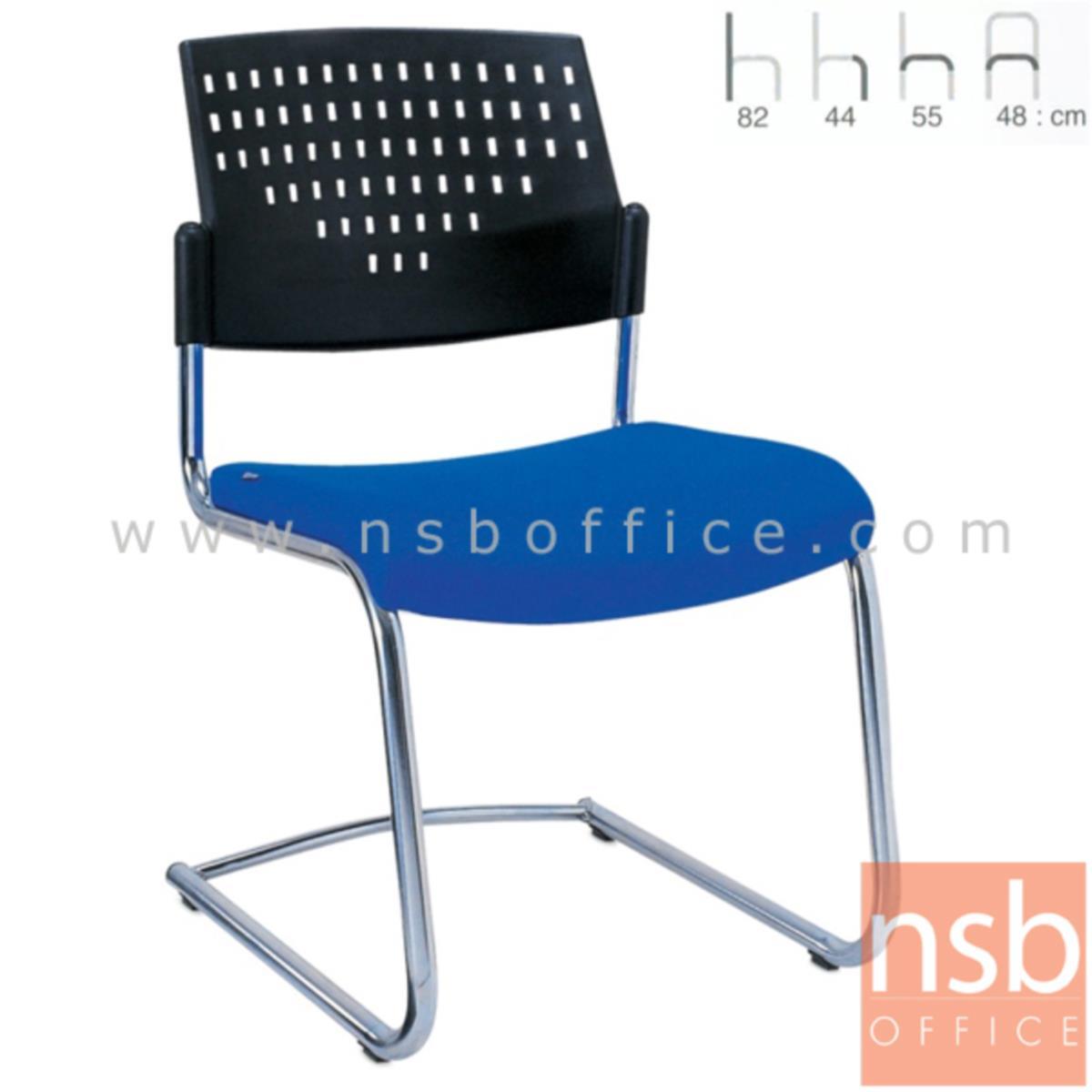 B28A046:เก้าอี้รับแขกขาตัวซีหลังเปลือกโพลี่ รุ่น Bentley (เบนท์ลีย์)  ขาเหล็กชุบโครเมี่ยม