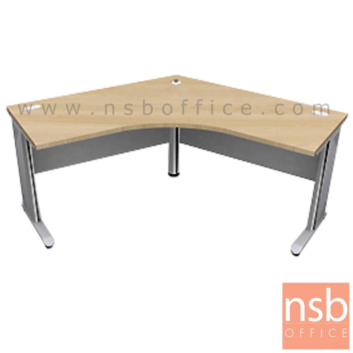 A18A020:โต๊ะทำงานตัวแอลหน้าโค้งมุมเมอแรง รุ่น Pinkett (พิงคิตต์) ขนาด 120W1*120W2 cm. ขาเหล็ก
