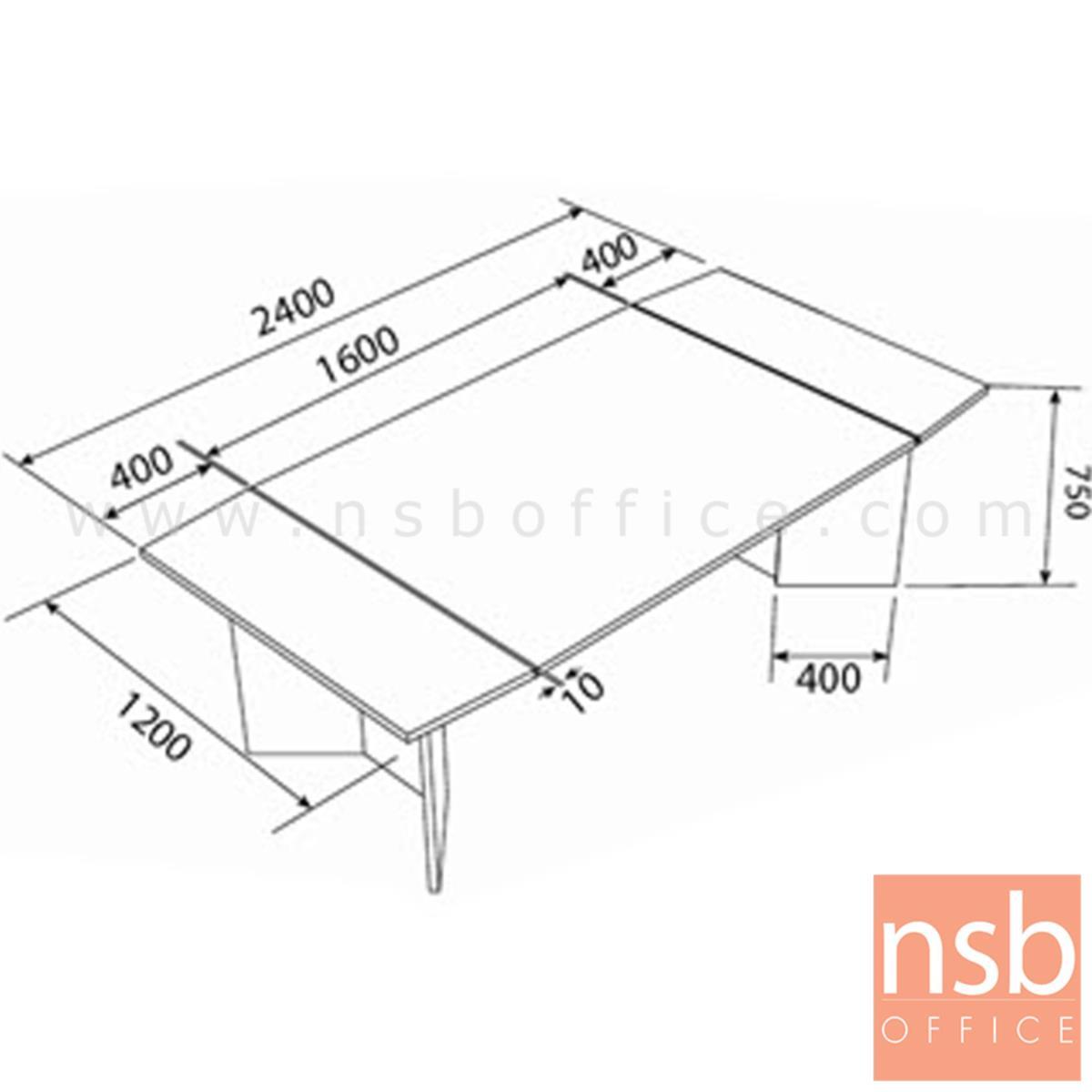 โต๊ะประชุมทรงสี่เหลี่ยมคางหมู BAVARIA (บาวาเรีย)  240W cm. สีมอคค่าวอลนัท-ดำ