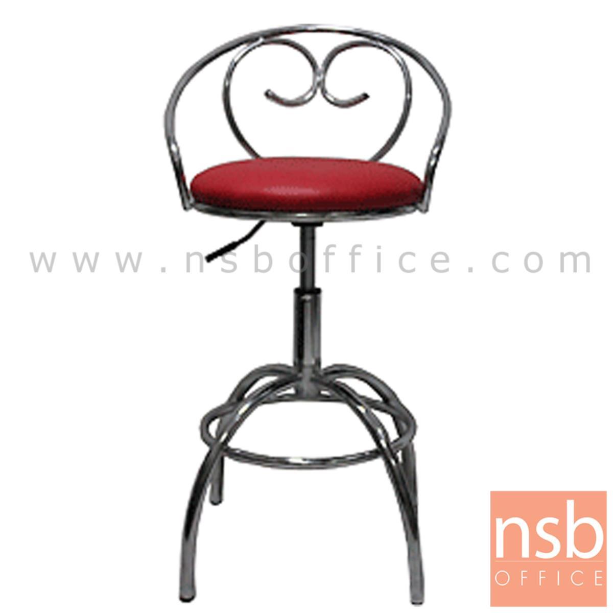 B09A107:เก้าอี้บาร์สตูลที่นั่งกลม รุ่น Olinda (โอลินดา)  โช๊คแก๊ส ขาเหล็กชุบโครเมี่ยม