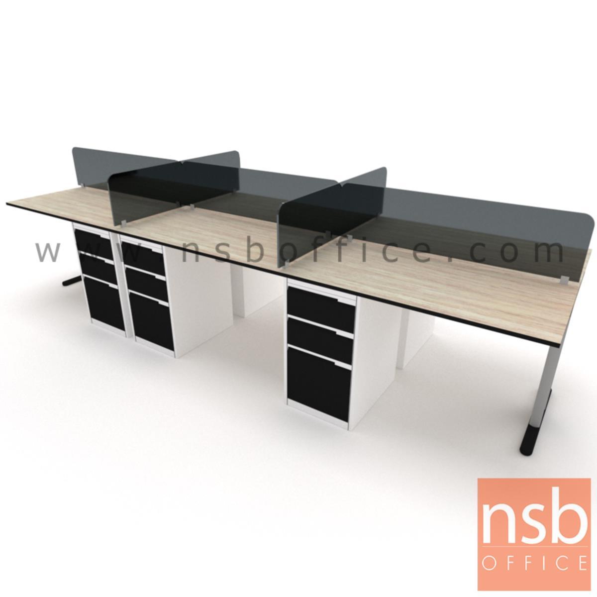 ชุดโต๊ะทำงานกลุ่ม 6 ที่นั่ง  รุ่น WS026G ขนาด 360W ,480W cm. พร้อมมินิสกรีนกระจกและตู้ 3 ลิ้นชักเหล็ก  ขาเหล็ก