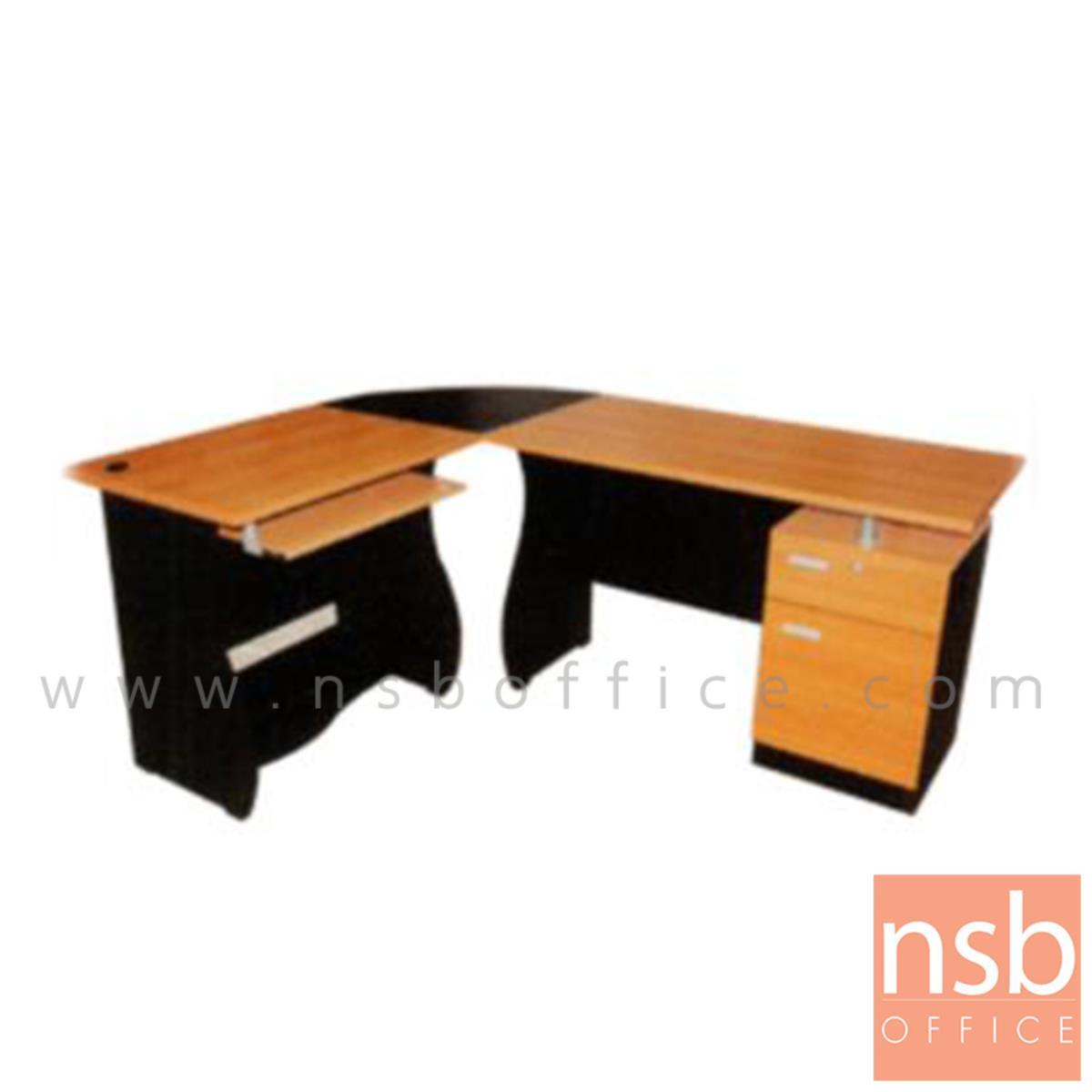 A16A039:โต๊ะผู้บริหารตัวแอลหัวโค้ง 1 ลิ้นชัก 1 บานเปิด รุ่น Metallique (เมทอลลิก) ขนาด 180W1*140W2 cm.  เมลามีน สีเชอร์รี่ดำ