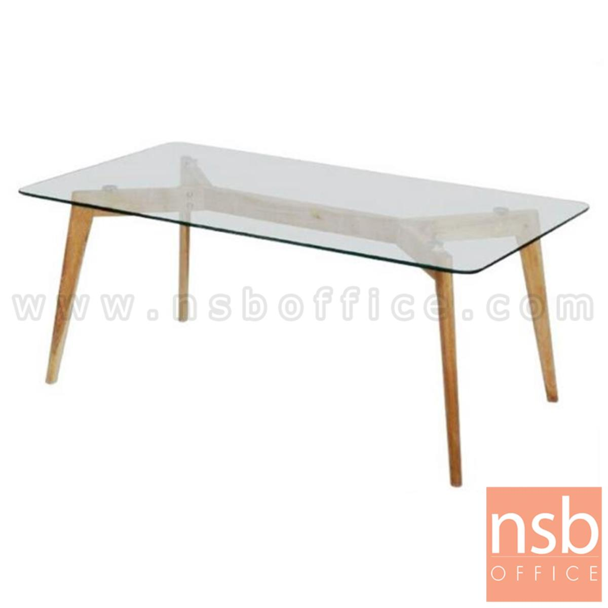 B13A179:โต๊ะกลางกระจก  รุ่น Wilson (วิลสัน) ขนาด 120W cm. ขาไม้