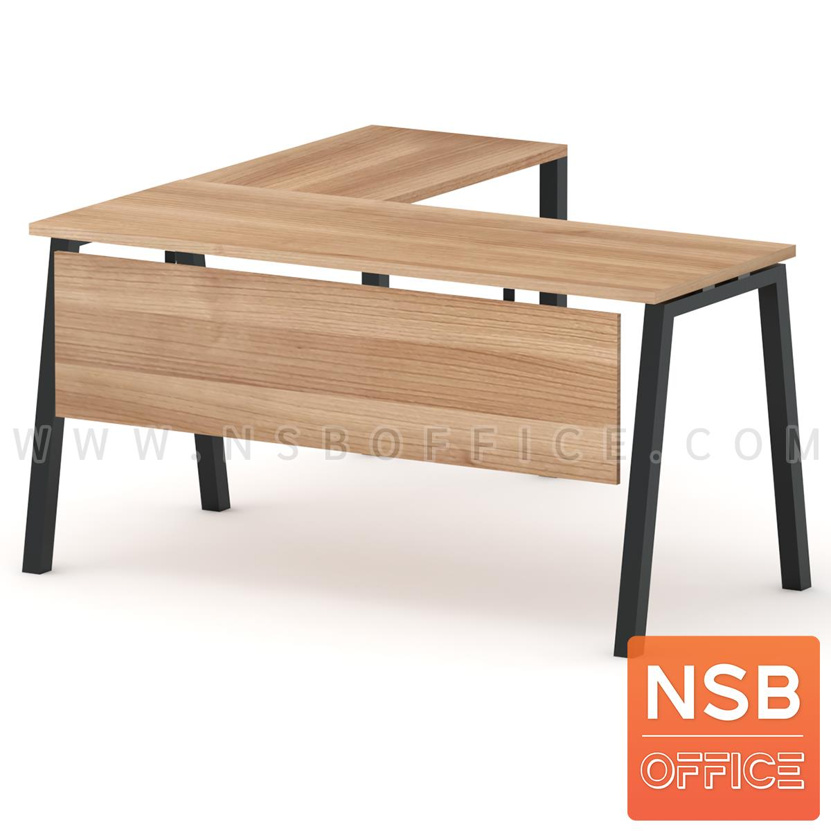 A16A087:โต๊ะทำงานตัวแอล รุ่น Helsingki (เฮลซิงกิ) ขนาด 150W1*140W2 cm. พร้อมบังตาไม้ ขาเหล็ก
