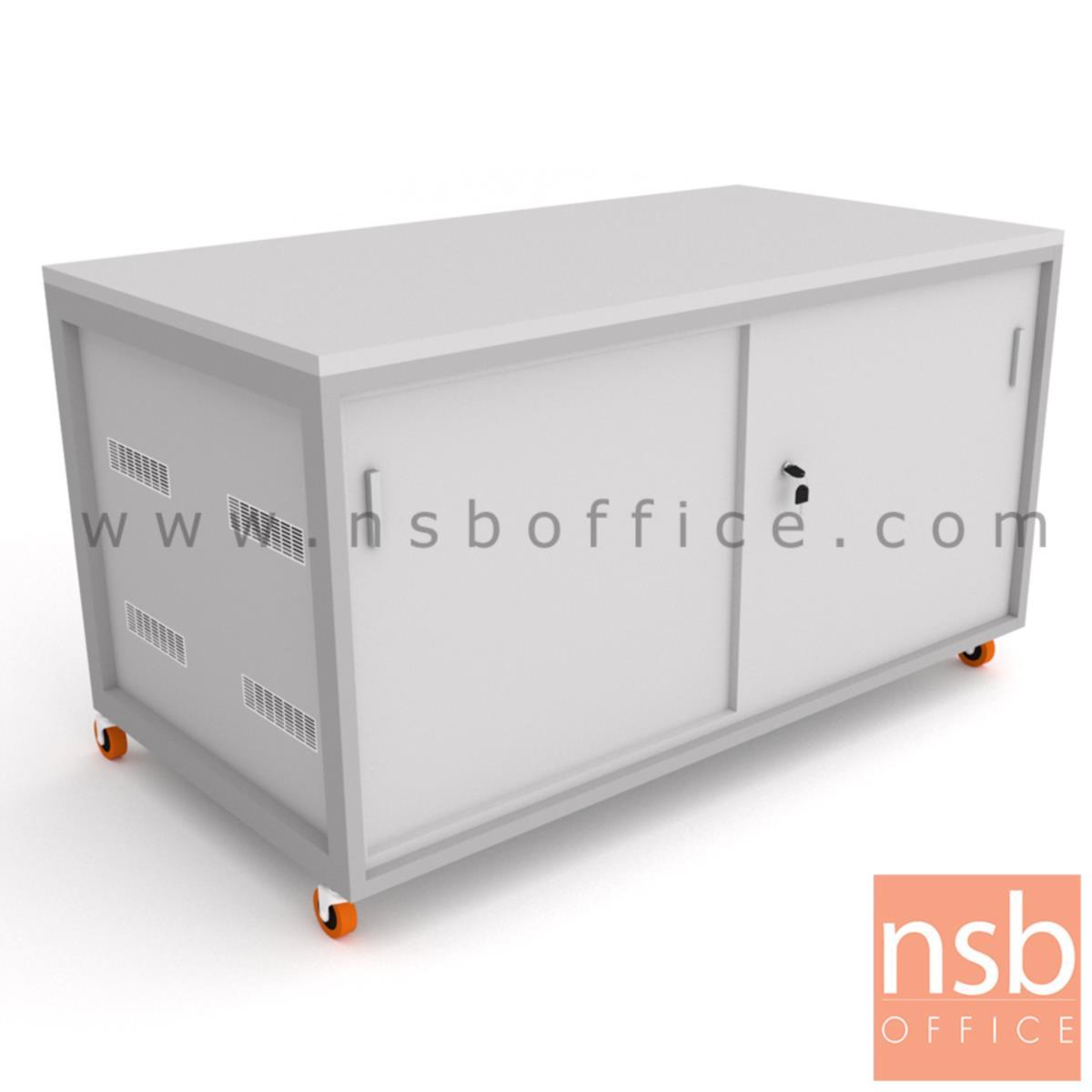 C12A017:ตู้แลปเก็บอุปกรณ์ บานเลื่อน รุ่น Scenery (ซีนเนอรี่) top HPL ขนาด 150W*80D cm. ล้อเลื่อน