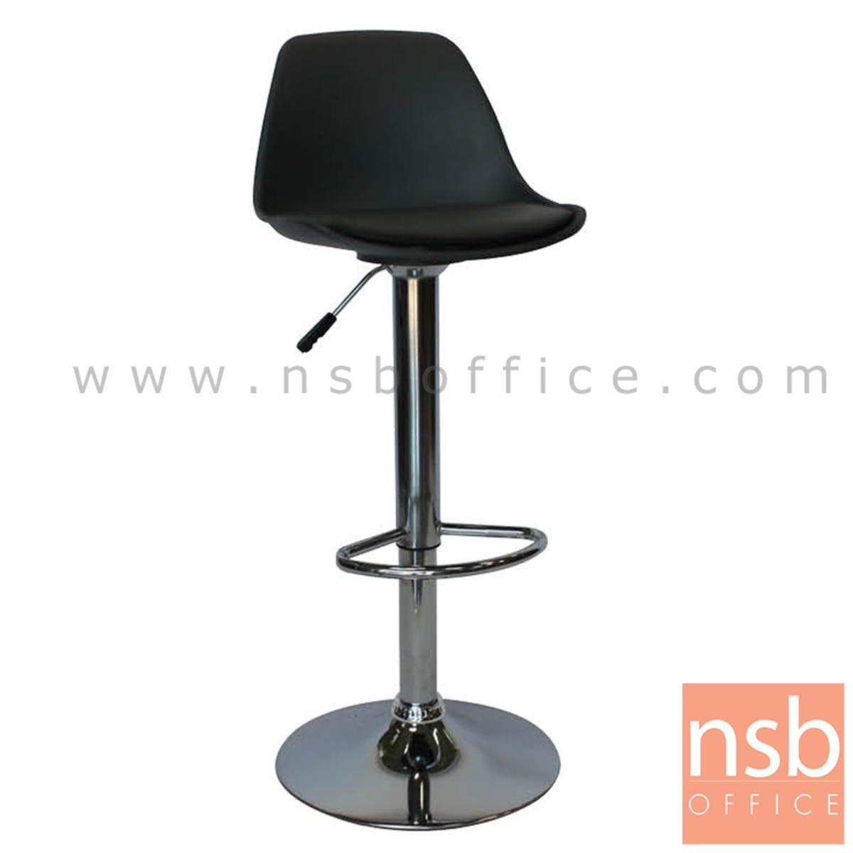 B18A081:เก้าอี้บาร์สูงเปลือกโพลี่เสริมเบาะหนังเทียม รุ่น Vega (เวก้า)  ขาโครเมี่ยมฐานจานกลม