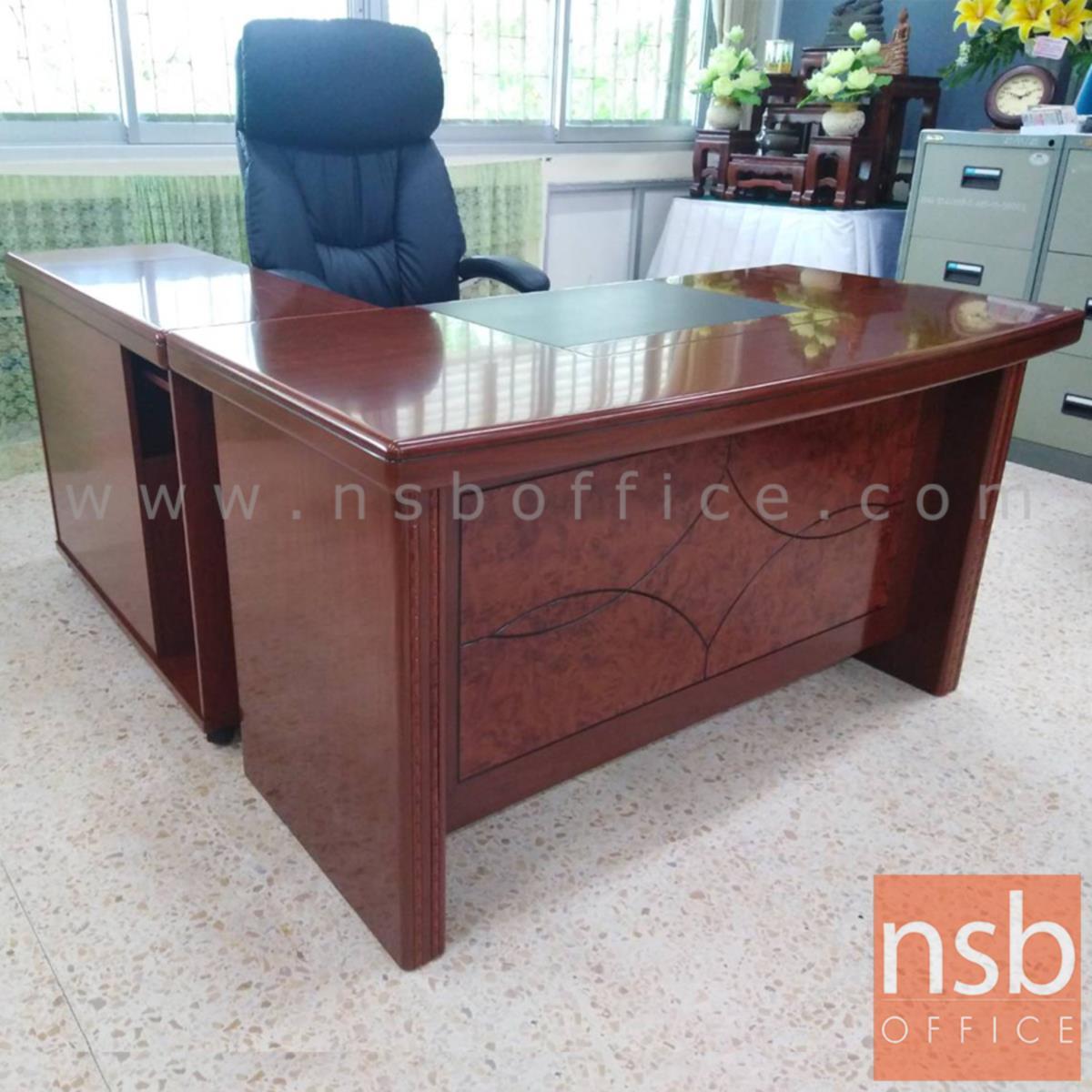 A06A044:โต๊ะผู้บริหารตัวแอล 4 ลิ้นชัก  รุ่น Pleasant (พลีเซนต์) ขนาด 140W cm. พร้อมตู้ข้าง