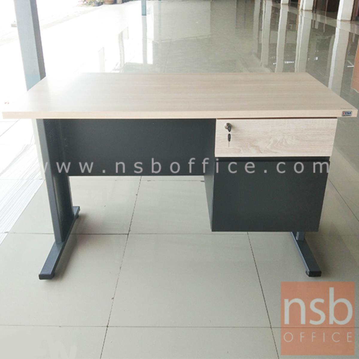A10A066:โต๊ะทำงาน 2 ลิ้นชัก  รุ่น Symbiote (ซิมไบโอต) ขนาด 120W cm. ขาเหล็ก  สีโซลิคตัดเทาเข้มหรือสีมูจิตัดเทาเข้ม