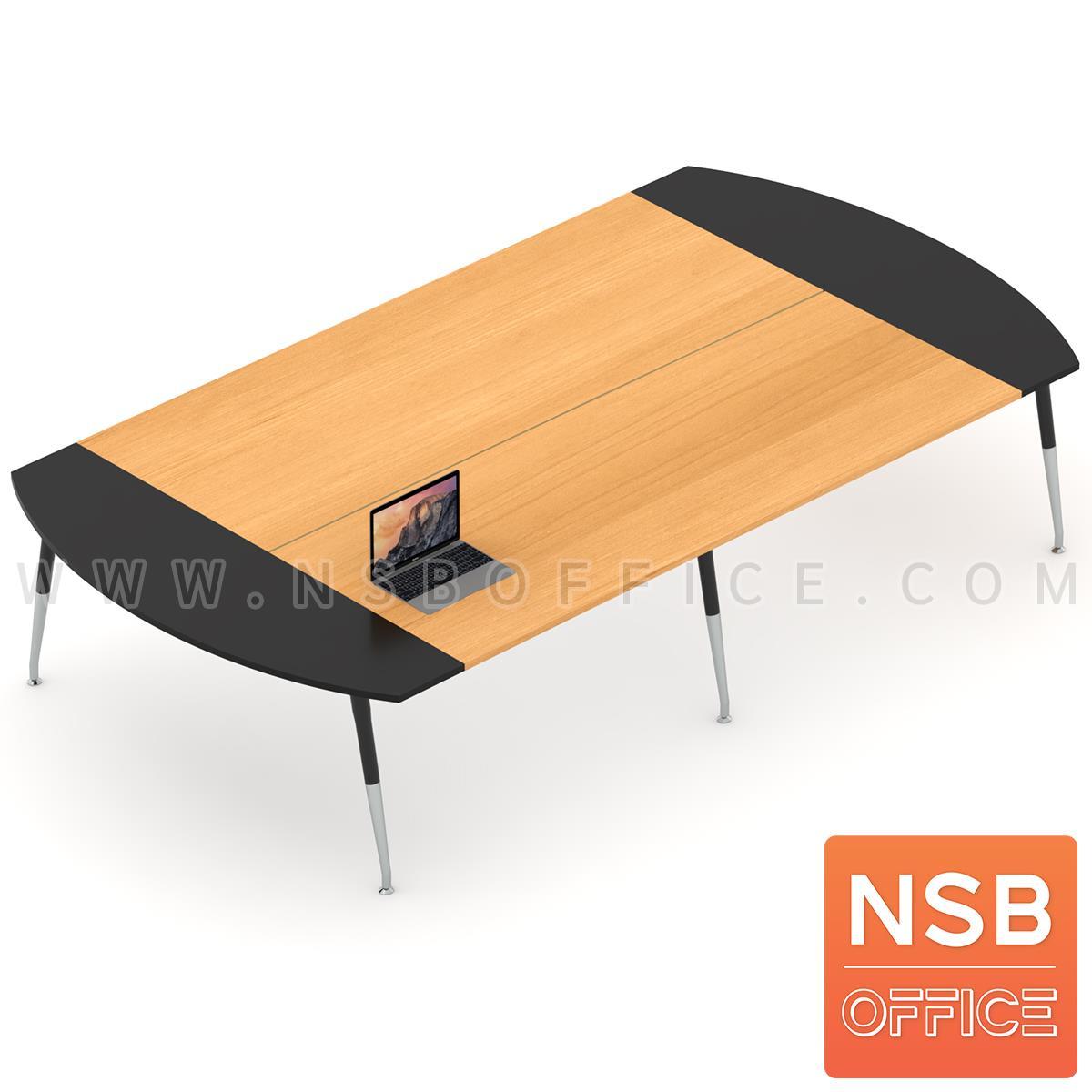 A05A132:โต๊ะประชุมหัวโค้ง ขาปลายเรียว ลึก 180 cm.