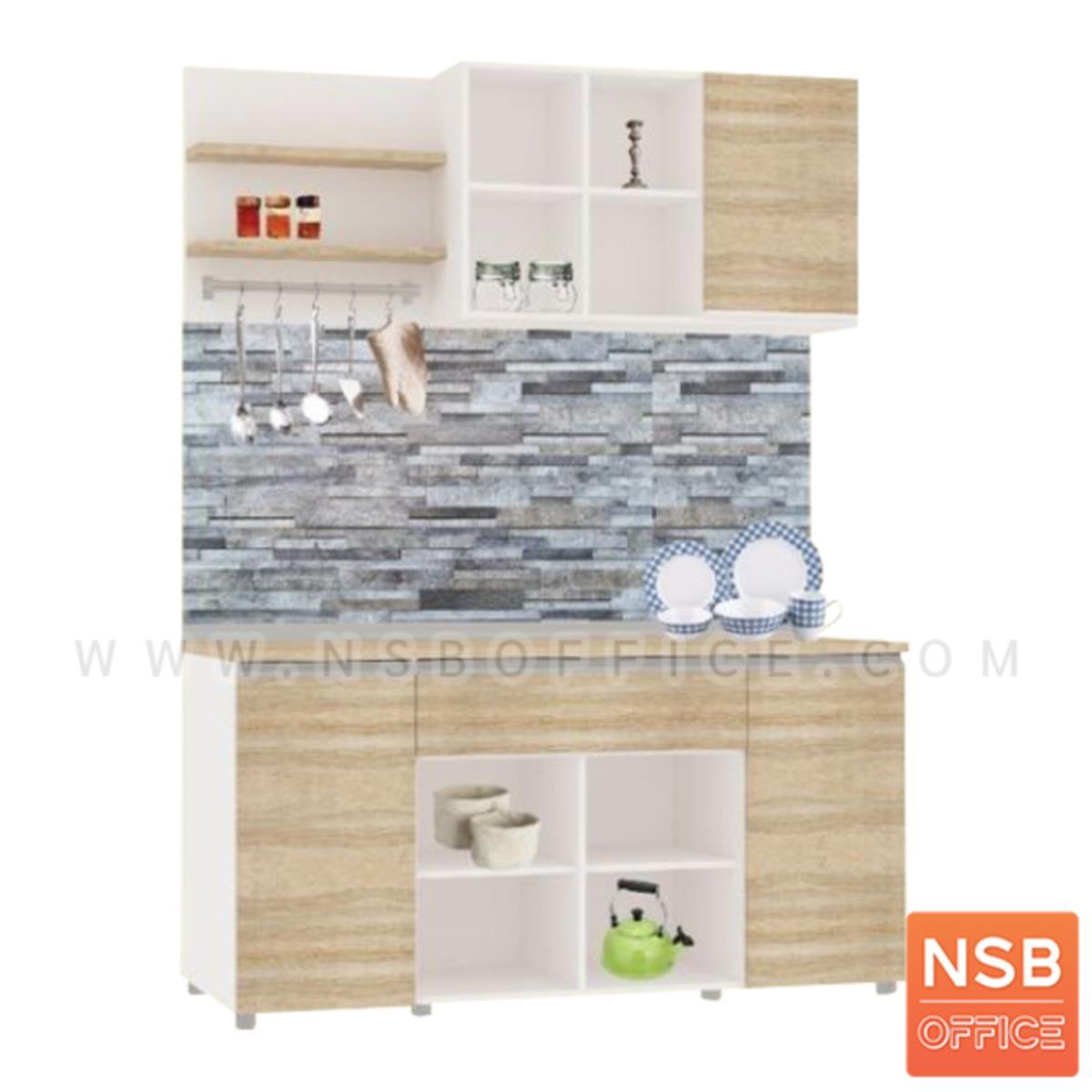 K05A015:ชุดตู้ครัวพร้อมตู้แขวน 2 บานเปิก 1 ลิ้นชัก รุ่น Belen (เบลเลน) ขนาด 160W cm. สีเนเจอร์ทีค-ขาว