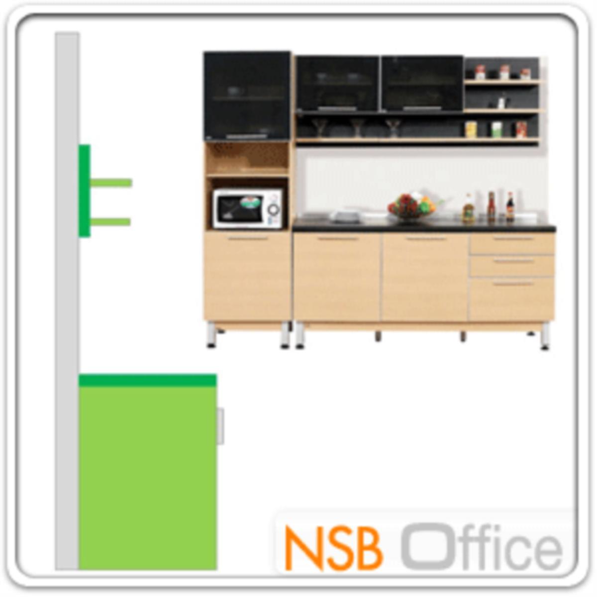 ชุดตู้ครัวสีบีทดำ 240W cm. รุ่น STEP-142 (สำหรับครัวเปียกและครัวแห้ง)