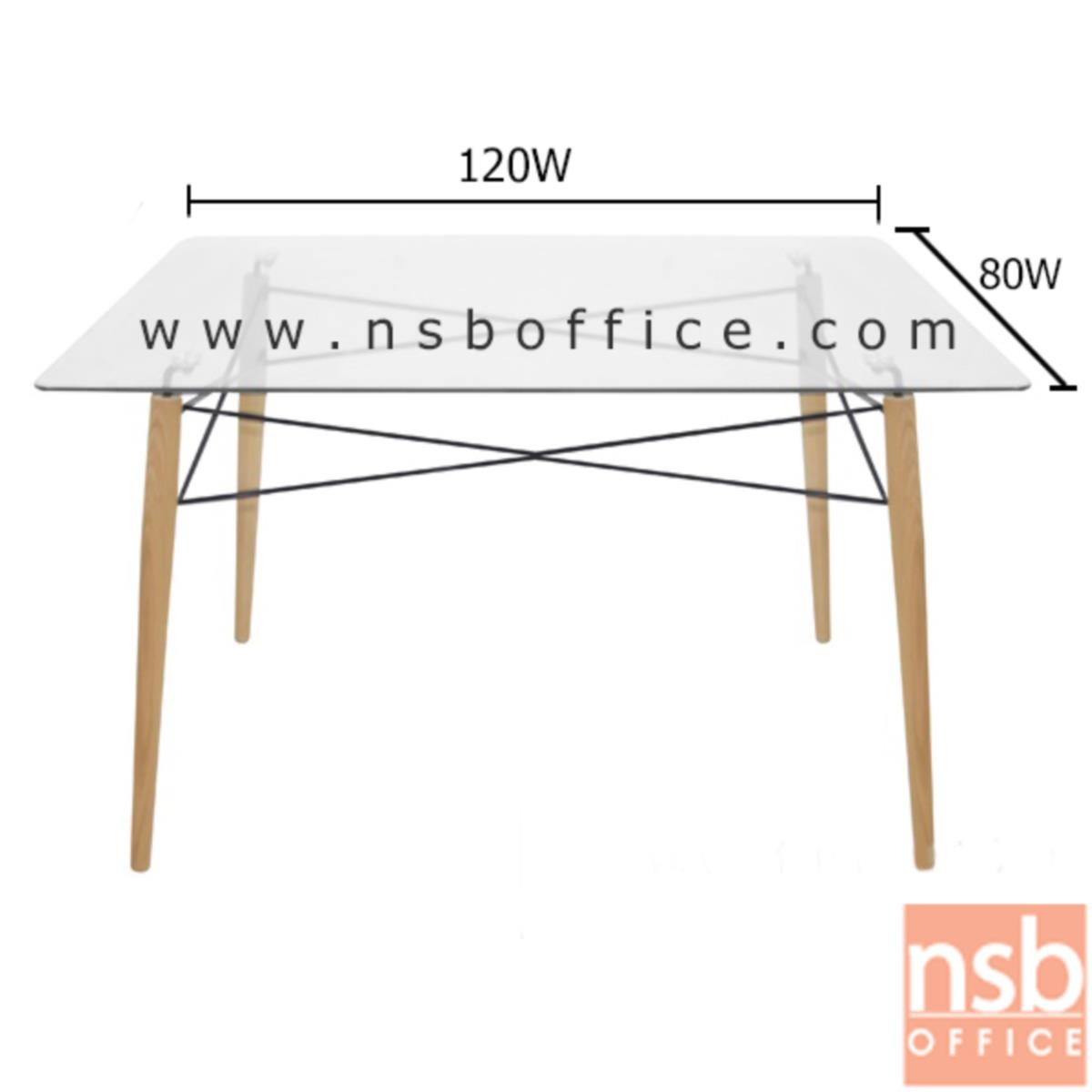 โต๊ะเหลี่ยมหน้ากระจก รุ่น Caldolor (คอลโดล่า) ขนาด 120W cm. โครงเหล็กชุบโครเมี่ยม เสริมด้วยไม้สีบีช