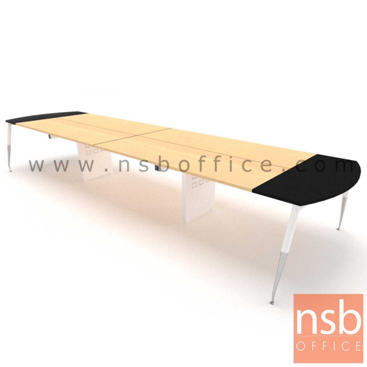 โต๊ะประชุมหัวโค้ง ขาปลายเรียว ลึก 150 cm.  ขากลางมีกล่องนำสายไฟ