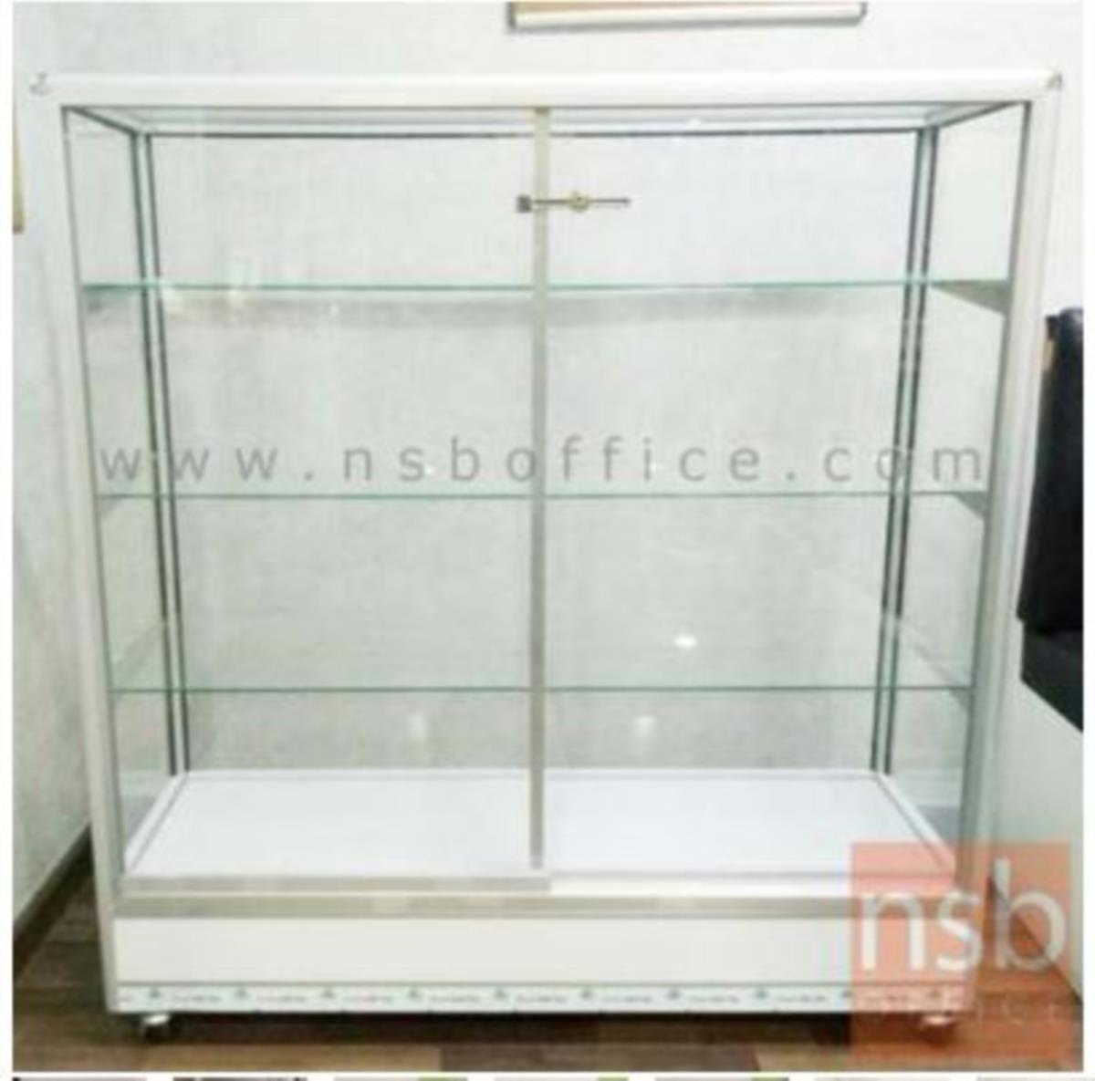 ตู้กระจกโชว์สินค้ามุมมน  โครงอลูมิเนียมล้วน สูง 145 ซม. มีล้อ