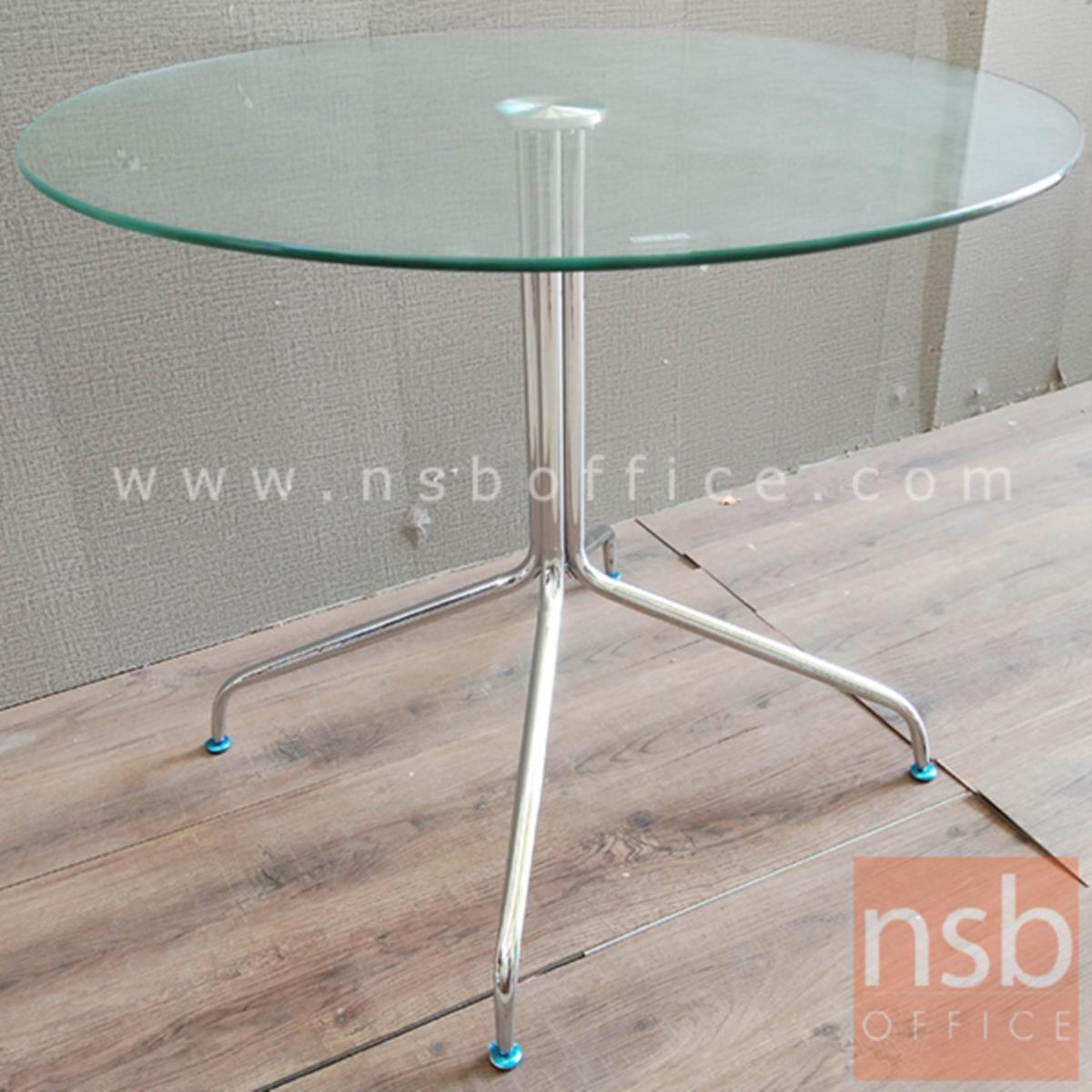 โต๊ะกลมหน้ากระจก รุ่น FN-9722  ขนาด 90Di cm.  โครงขาเหล็กชุบโครเมี่ยม (ยกเลิก)