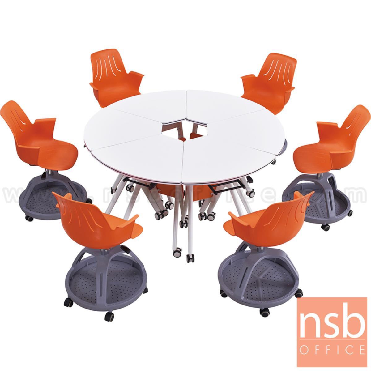 โต๊ะพับล้อเลื่อน 1/6 รุ่น Lucy (ลูซี่)  โครงเหล็กพ่นสีขาว บังตาไม้
