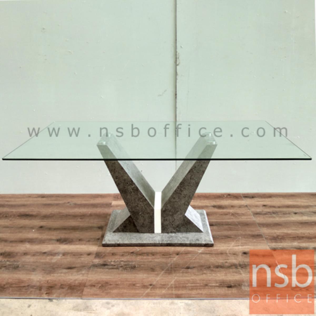 โต๊ะประชุมเหลี่ยมหน้ากระจก รุ่น Sheeran (ชีแรน) ขนาด 180W cm.  ขากล่องไม้ MDF