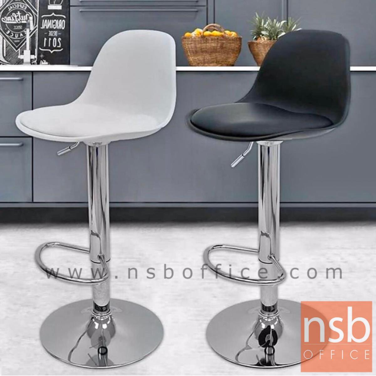 เก้าอี้บาร์สูงเปลือกโพลี่เสริมเบาะหนังเทียม รุ่น Vega (เวก้า)  ขาโครเมี่ยมฐานจานกลม