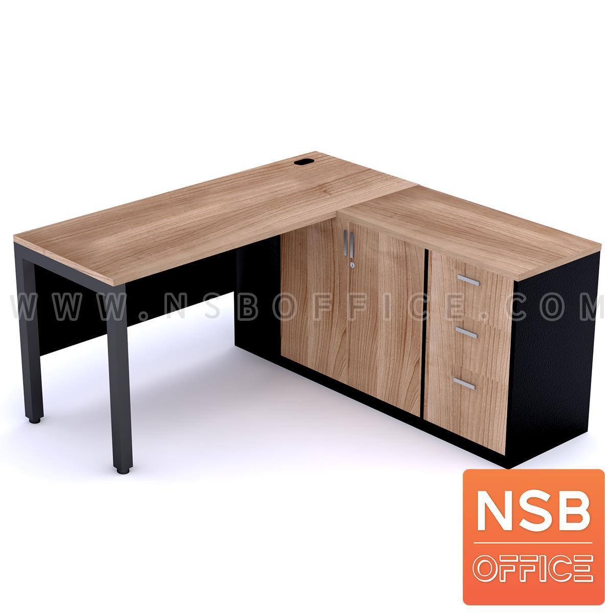 A18A031:โต๊ะทำงานตัวแอล   ขนาด 150W1*150W2 ,170W2 cm.  พร้อมตู้เก็บเอกสารและบังโป๊ ขาเหล็ก