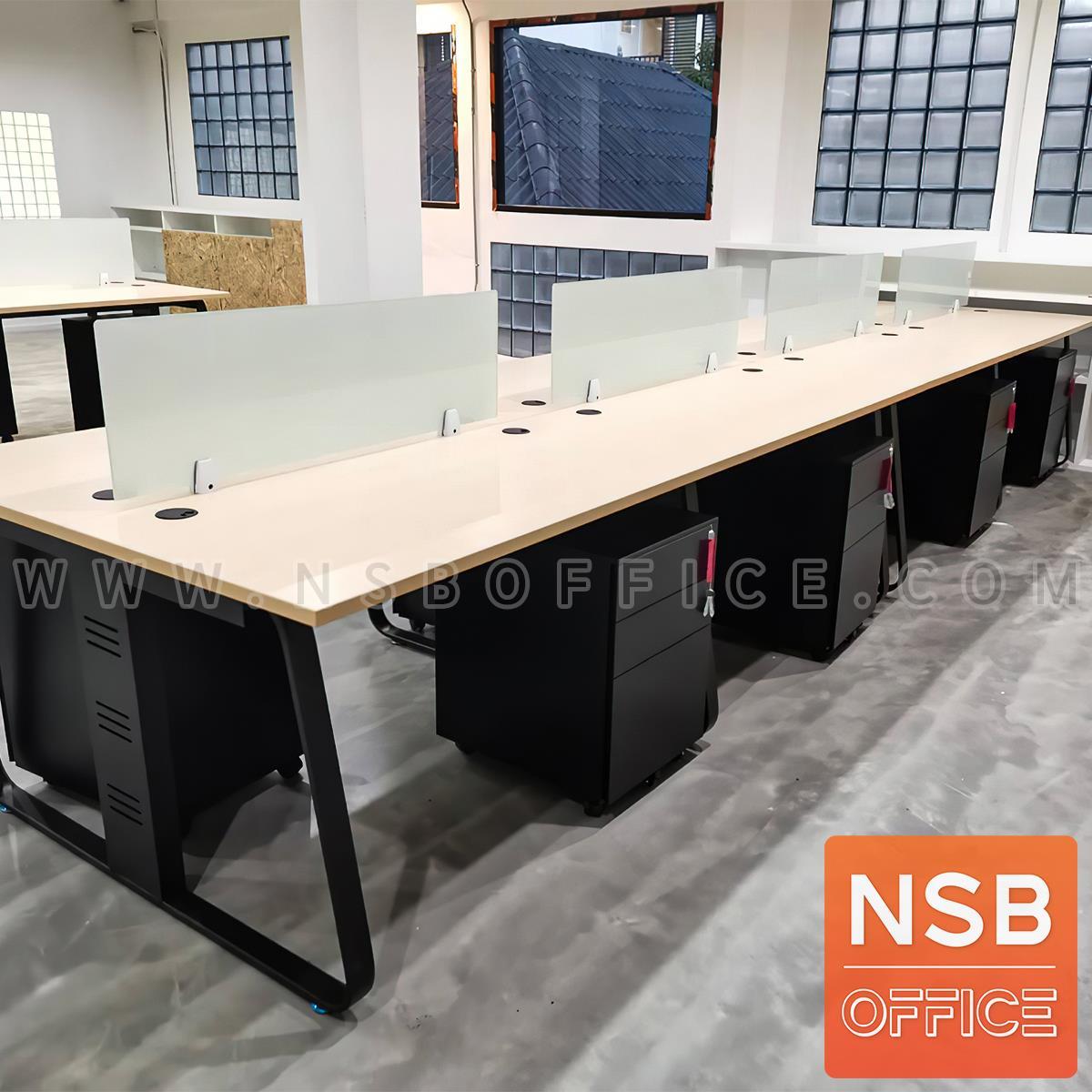 ชุดโต๊ะทำงานกลุ่มขาเหล็ก รุ่น Lenka 3 (เล็งกา 3) 4 ,6 ที่นั่ง ขนาด 240W, 360W cm พร้อมมินิสกรีนและตู้ลิ้นชักเหล็กล้อเลื่อน