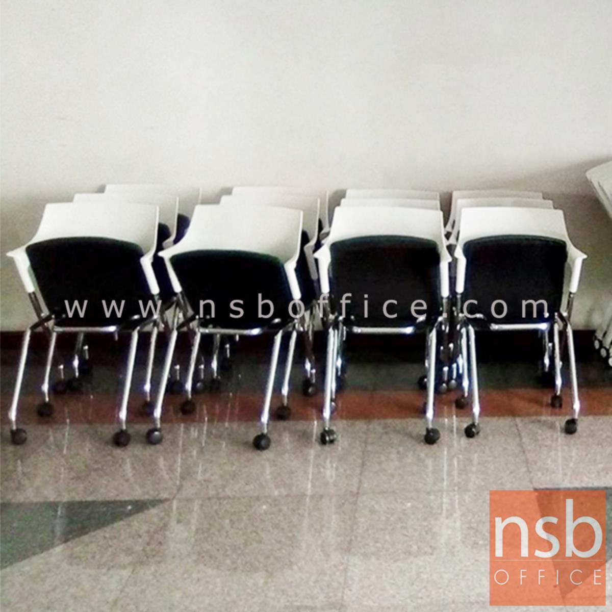 เก้าอี้อเนกประสงค์โพลี่ล้วน รุ่น Blue Bell (บลู เบล)  โครงขาเหล็กชุบโครเมี่ยม