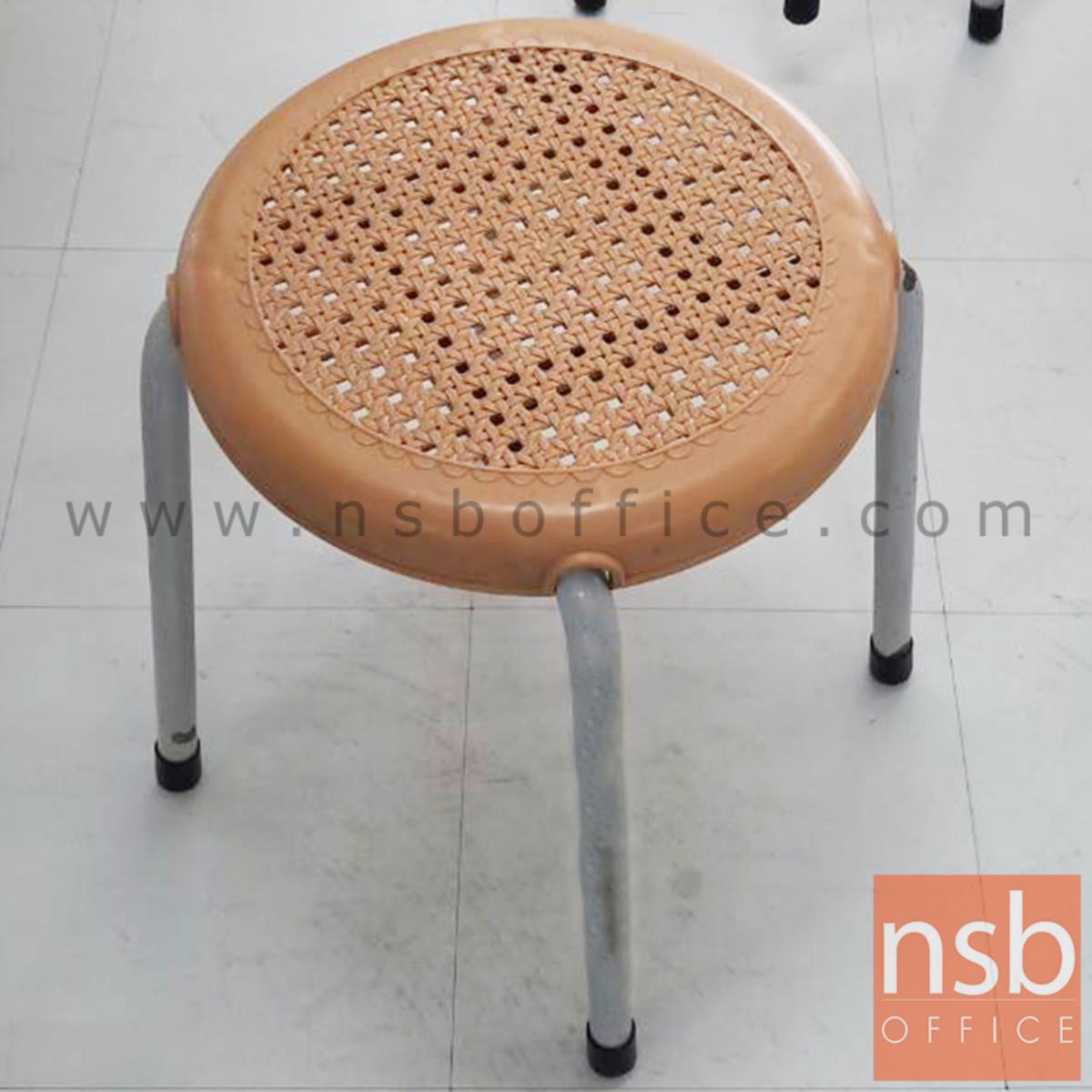 เก้าอี้สตูลกลมที่นั่งพลาสติกลายหวาย  31Di*45H cm. ขาเหล็กกลมพ่นเทา