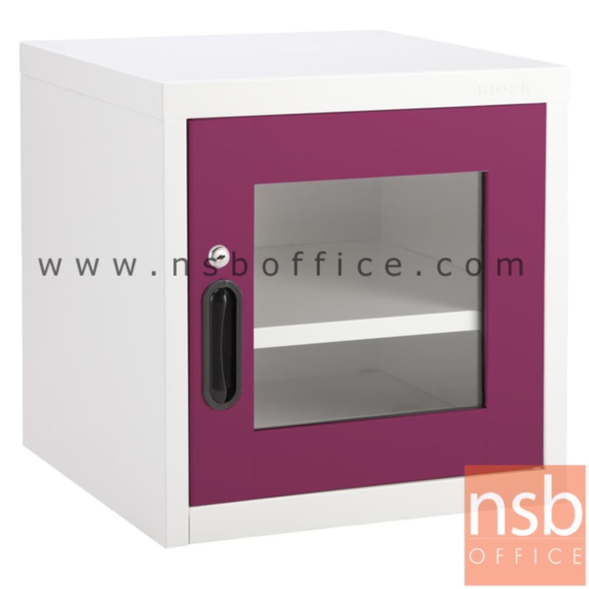 ตู้เหล็ก 1 บานเปิดกระจก หน้าบานสีสัน 44W*40.7D*44H cm รุ่น UNI-2