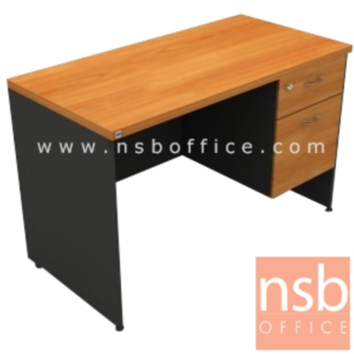 โต๊ะทำงาน 2 ลิ้นชัก  รุ่น Kirshner ขนาด 150W cm. เมลามีน สีเชอร์รี่ดำ