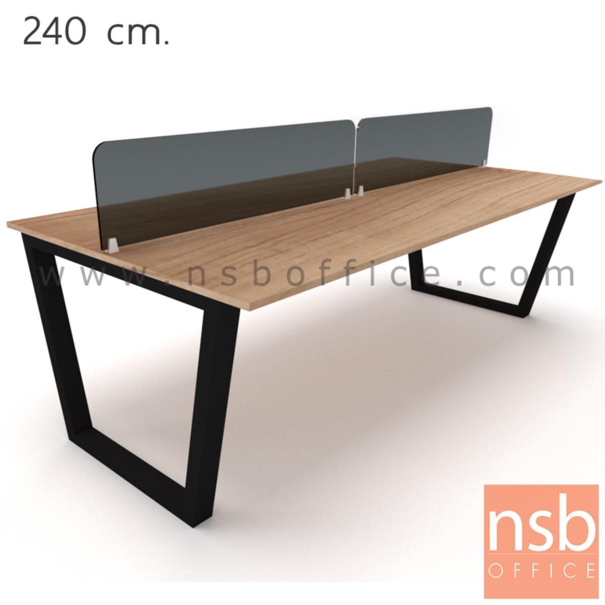 A33A028:ชุดโต๊ะทำงานกลุ่ม   4 ,6 ที่นั่ง ขนาด 240W ,360W cm.  พร้อมมิสกรีนกระจกสีดำ ขาเหล็กทรงคางหมู