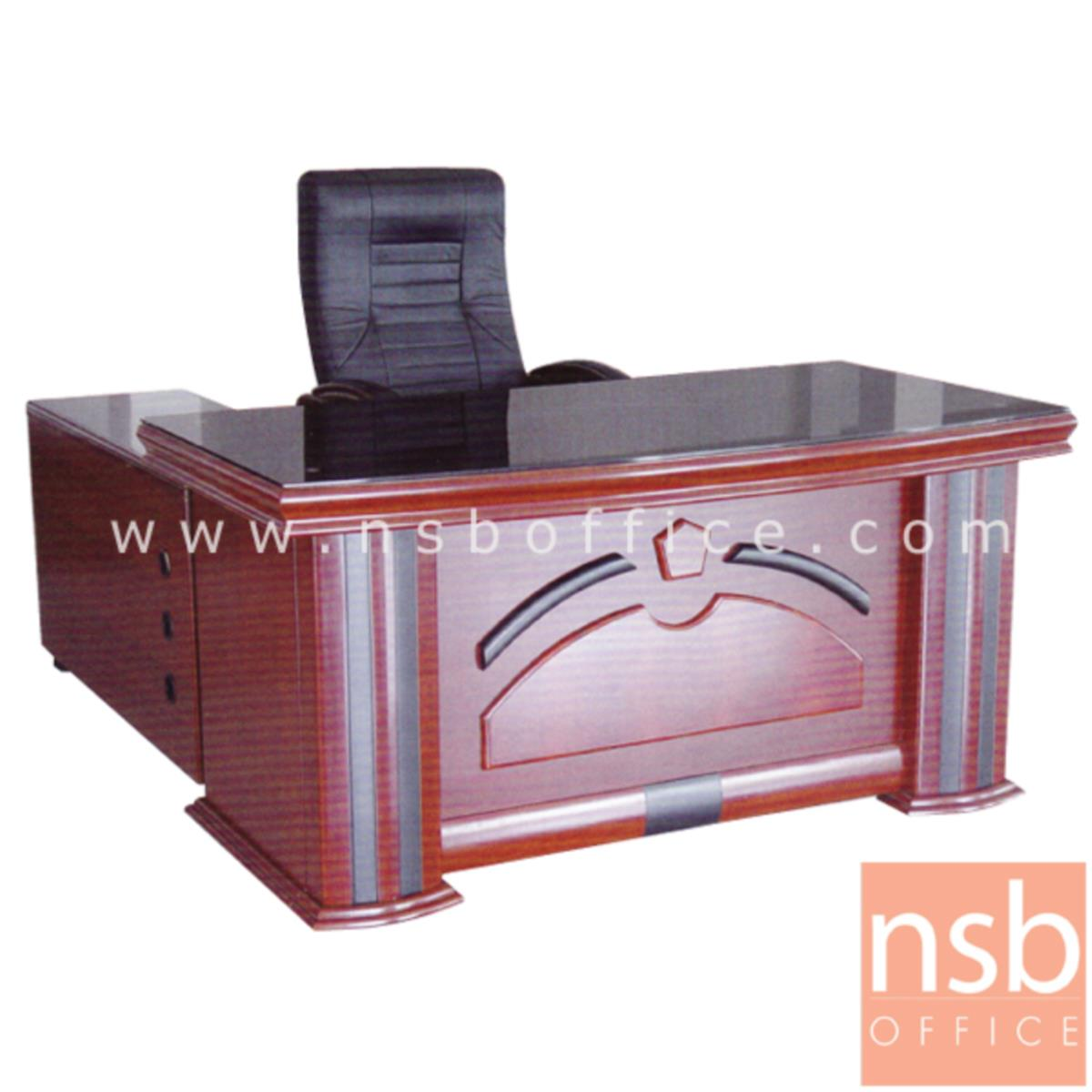 A06A064:โต๊ะผู้บริหารตัวแอล  รุ่น Sinatra (ซินาตรา) ขนาด 160W cm. พร้อมตู้ลิ้นชักและตู้ข้าง