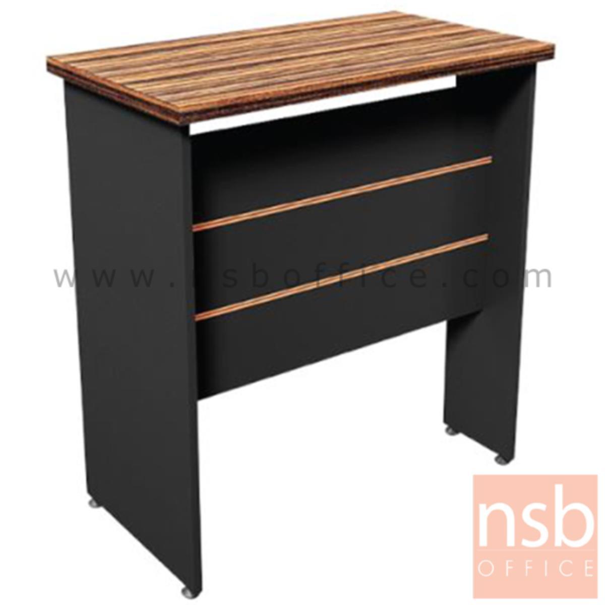 A26A016:โต๊ะเข้ามุม  รุ่น Vetiver (เวททิเวอร์) ขนาด 80W cm. ขาไม้ สีลายไม้ซีบราโน่ตัดดำ ขอบ ROSEGOLD