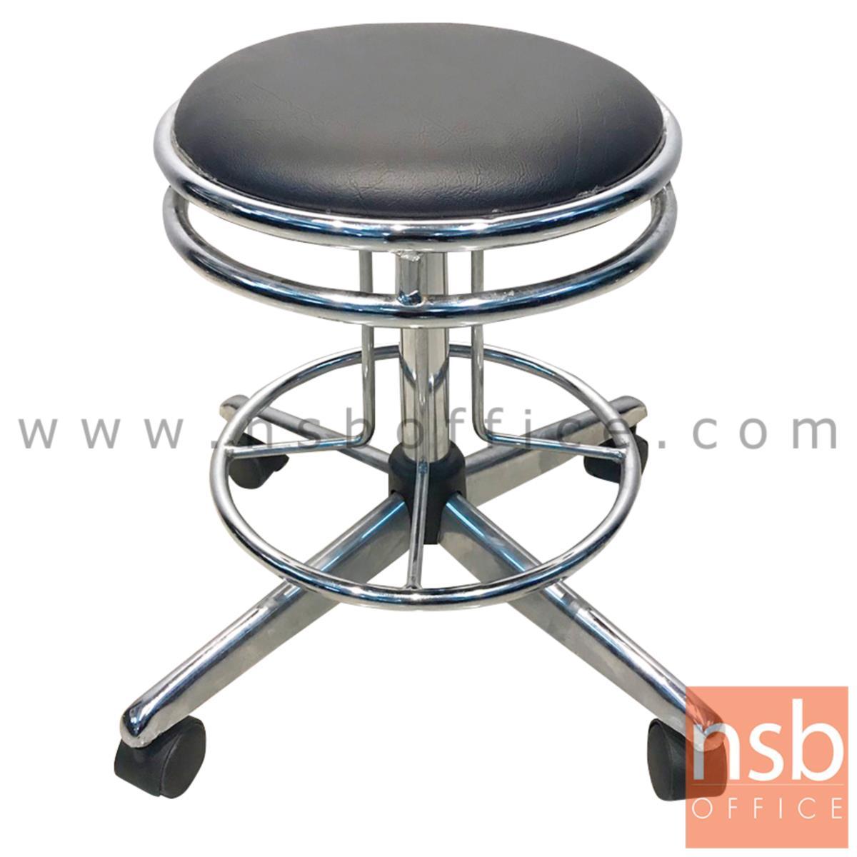 B09A004:เก้าอี้บาร์สตูลที่นั่งกลมล้อเลื่อน รุ่น CS-020 ขาเหล็ก
