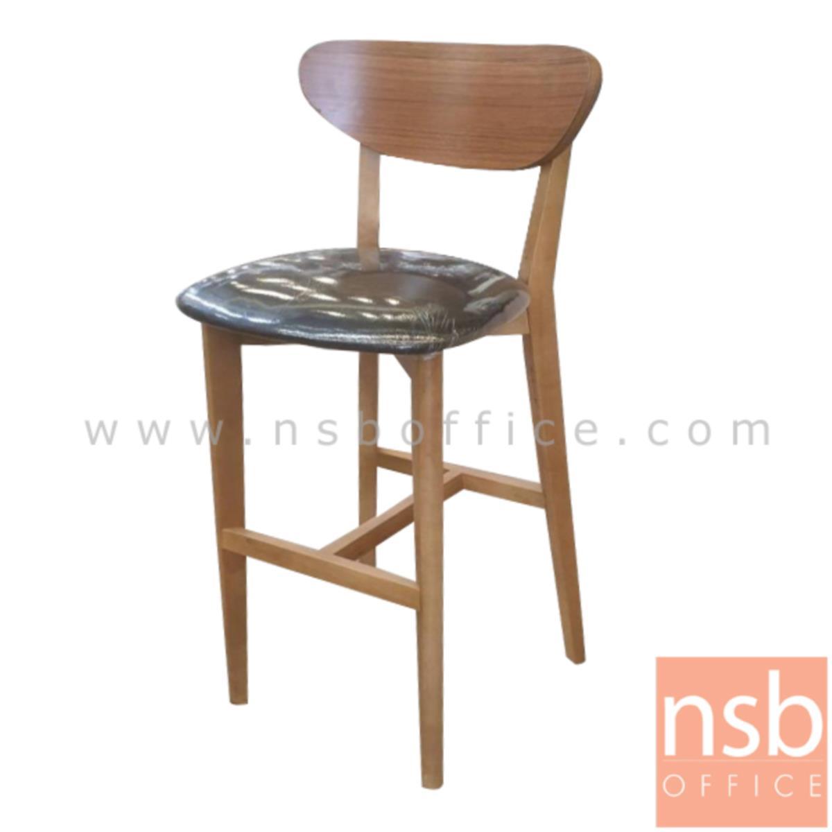 B22A193:เก้าอี้บาร์ไม้จริง รุ่น Alva (อัลวา)  เบาะหุ้มหนังเทียม