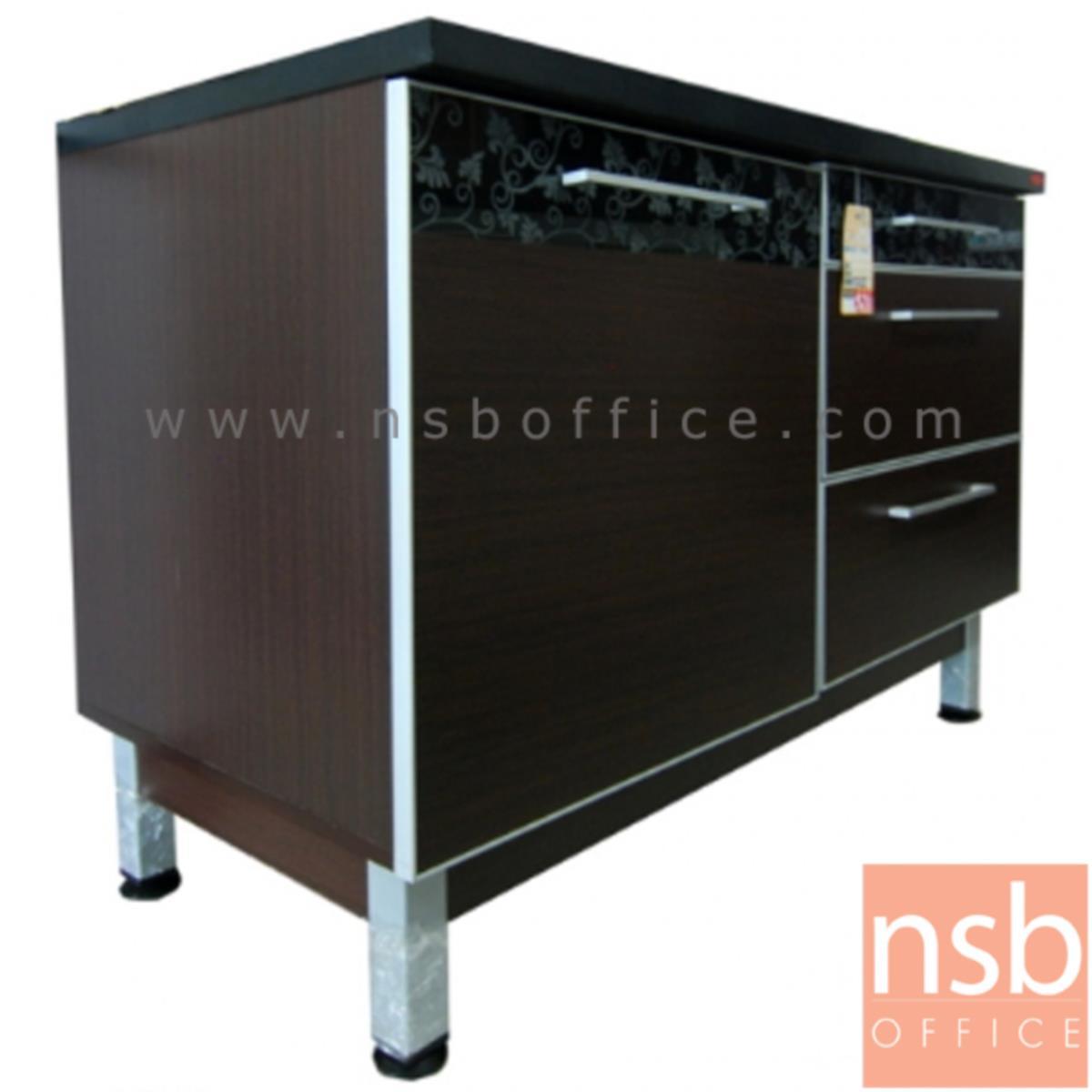 K03A029:ตู้เคาน์เตอร์ กว้าง 120 ซม. TOP เมลามีนสีดำล้วน รุ่น Sanity (แซนนิตินี้)