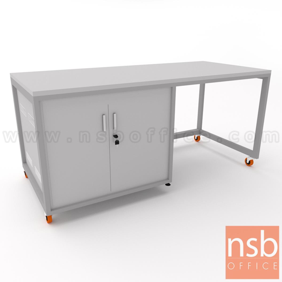 ตู้แลปเก็บอุปกรณ์ บานเปิด รุ่น Sinai (ซีนายน์) top HPL ขนาด 150W, 180W cm. ล้อเลื่อน เคลื่อนย้ายได้